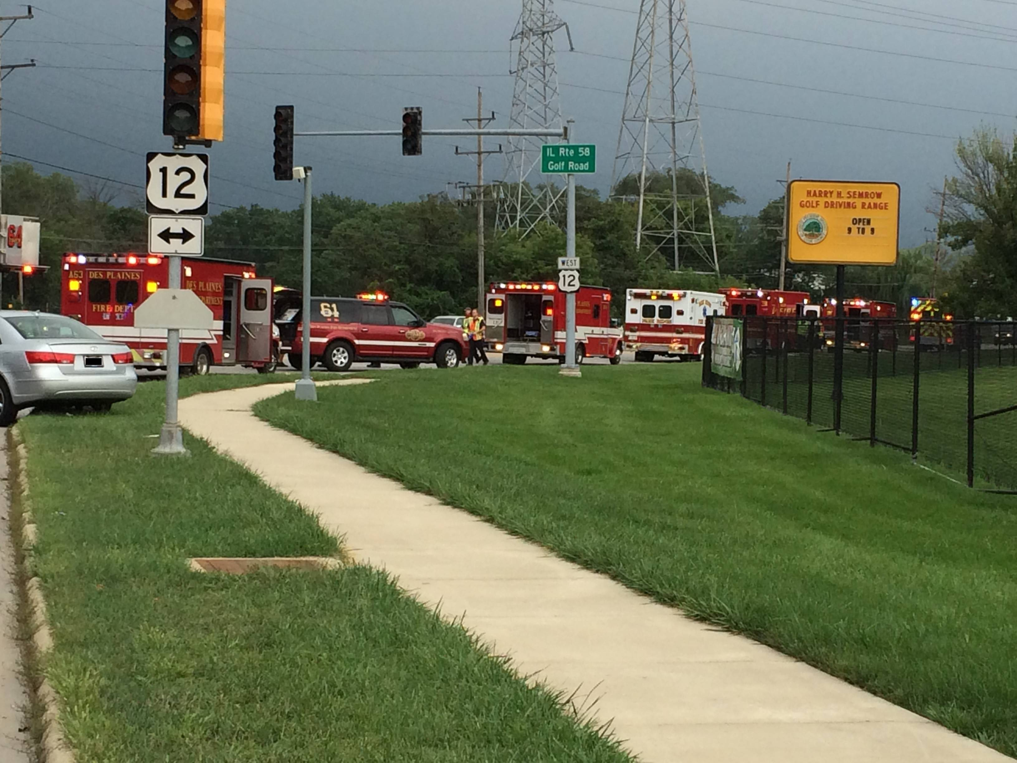 Des Plaines fire officials requested extra manpower and ambulances from Northwest suburban departments to respond to a three-vehicle crash Saturday at Golf and Rand roads.
