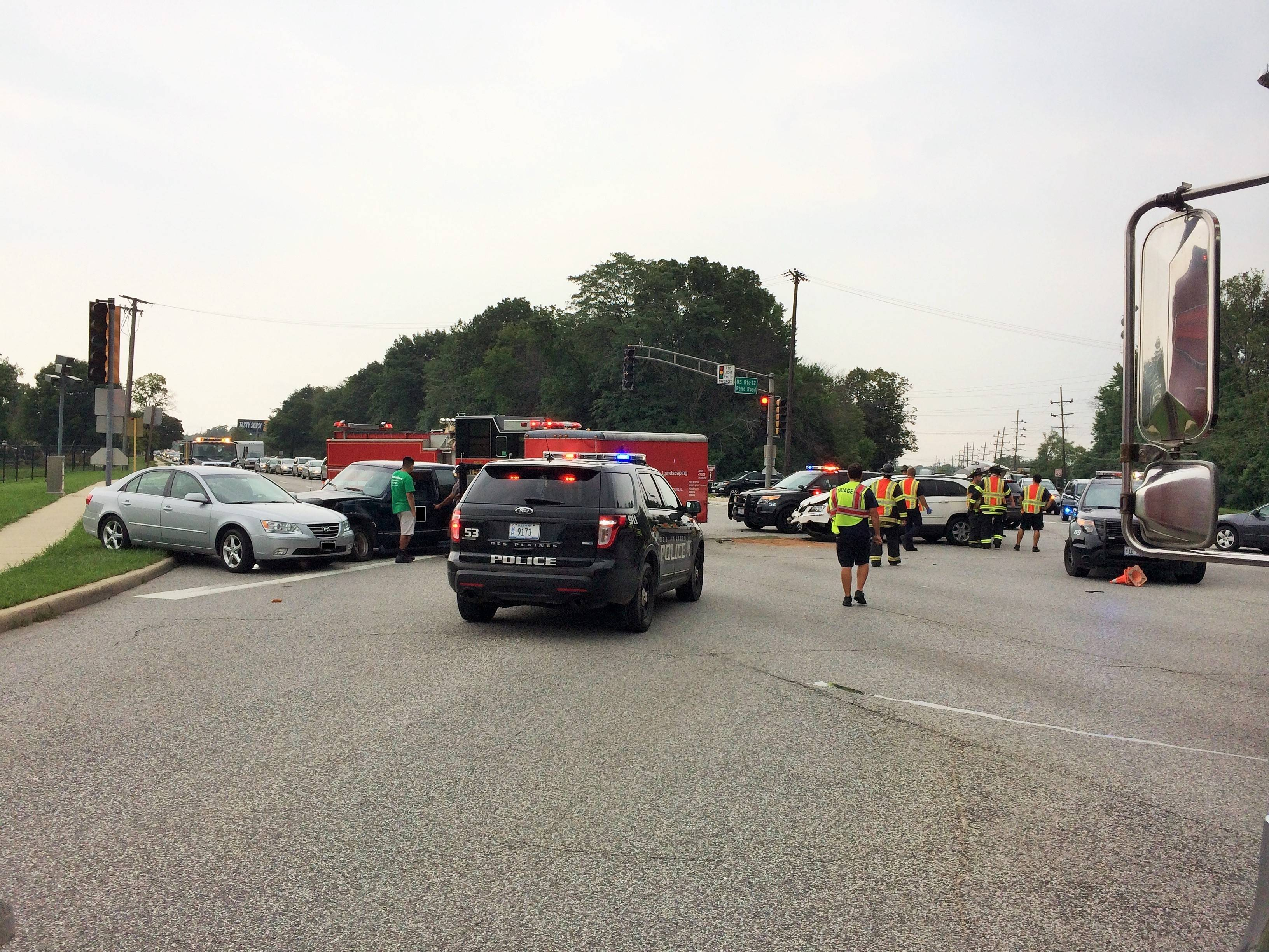 Three other people declined medical treatment after a three-car crash Saturday afternoon in Des Plaines.
