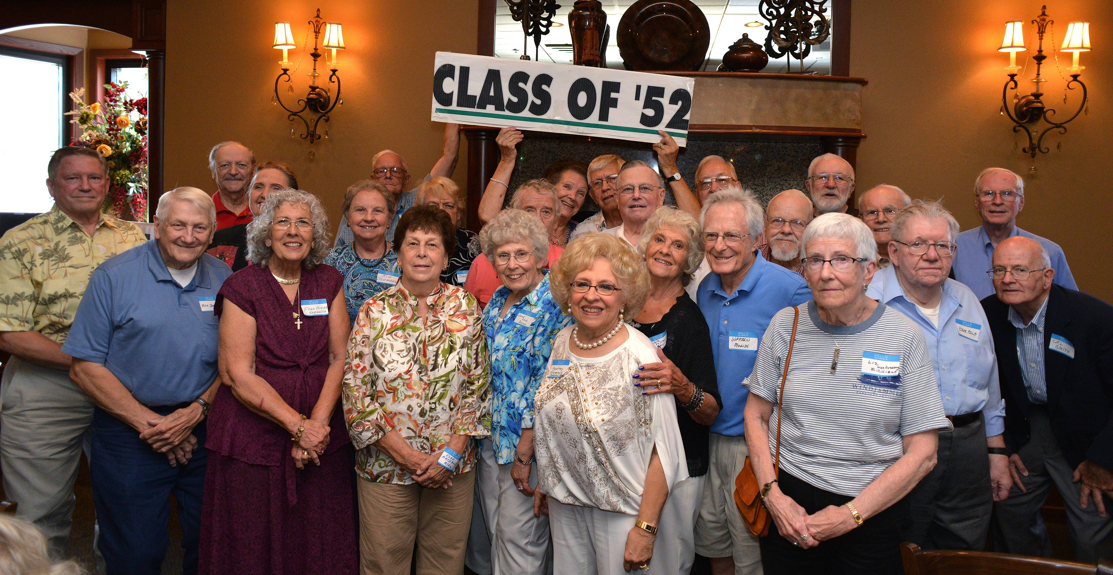 Roughly 25 graduates of Glenbard West High School's class of 1952 got together Friday at Cooper's Corner in Winfield to reminisce and celebrate everyone's 80th birthday.