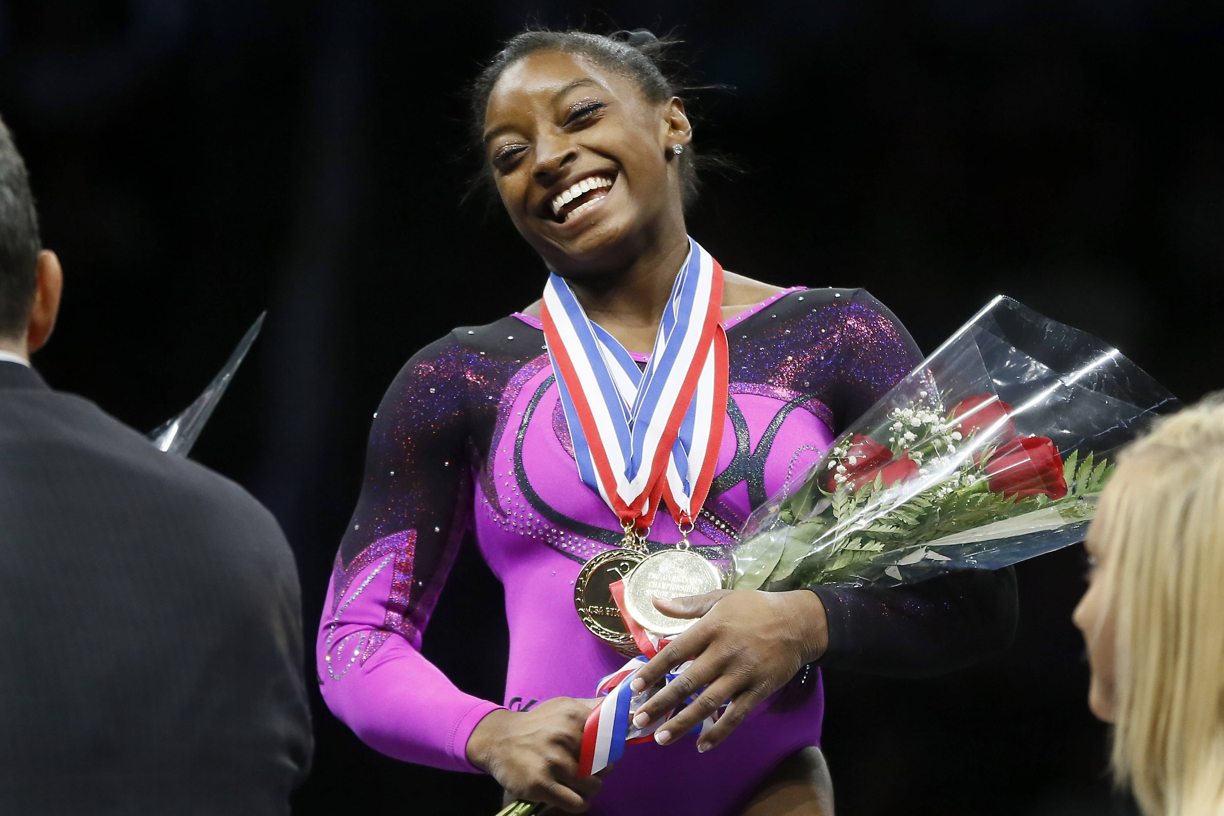 Simone Biles captured her second straight national gymnastics title Saturday in Pittsburgh.