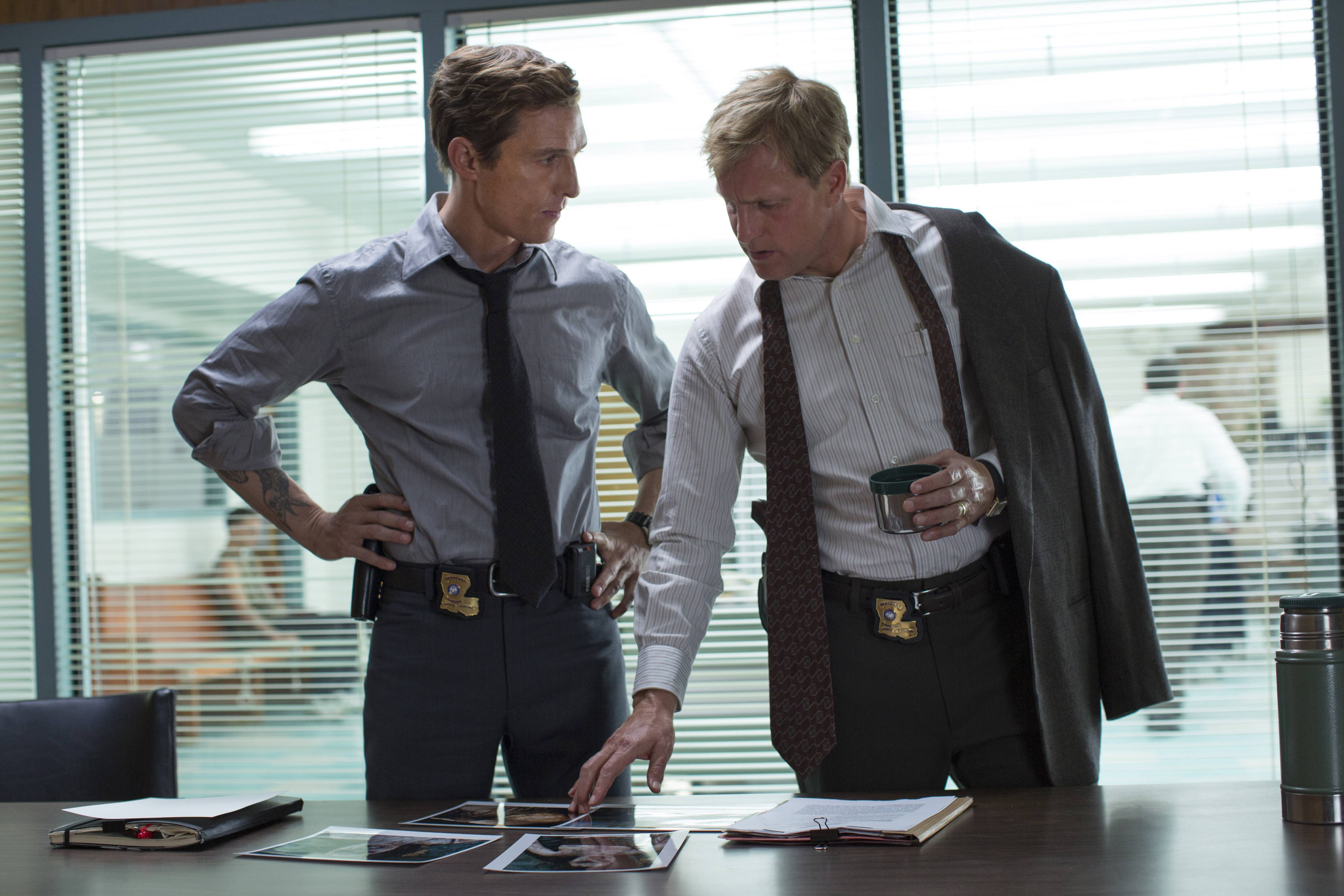 """True Detective"" is a frontrunner for best drama at the Emmys and both its stars — Matthew McConaughey, left, and Woody Harrelson — are up for best actor."