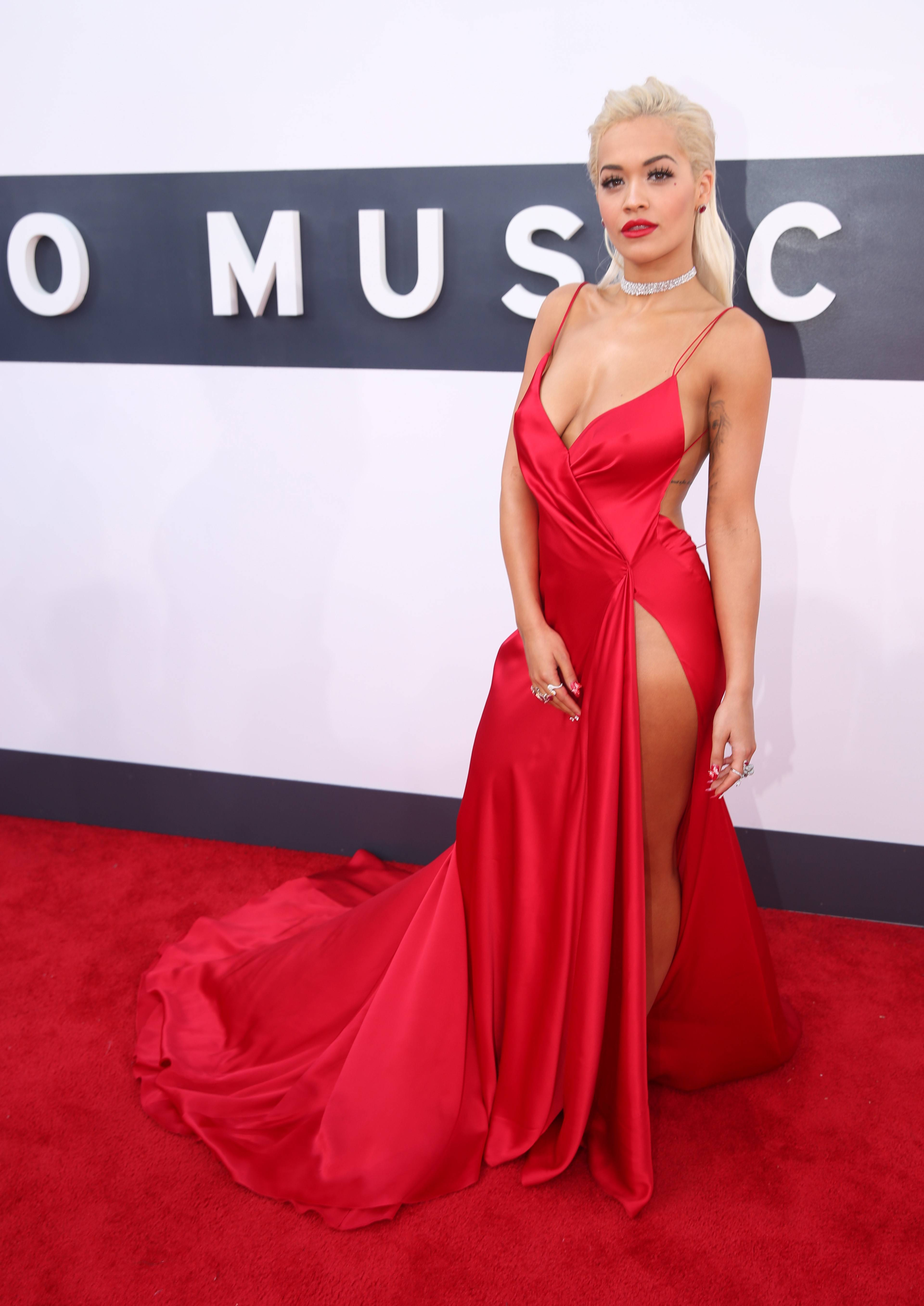 WORST: While this outfit had some potential, that slit up the side on Rita Ora's dress takes it from sexy to tacky.