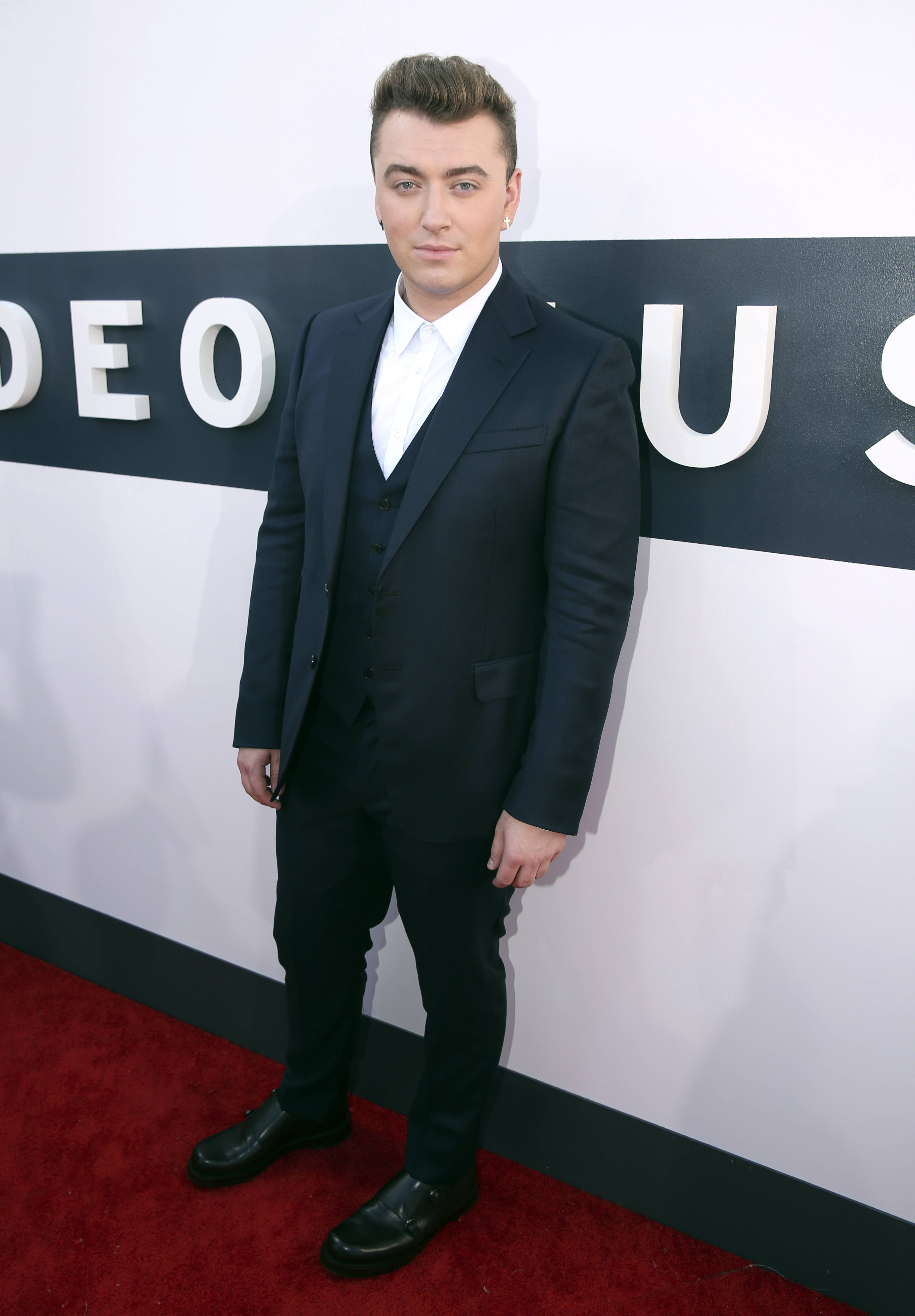 "Sam Smith arrives at the MTV Video Music Awards. Smith would later perform his hit ""Stay With Me."""