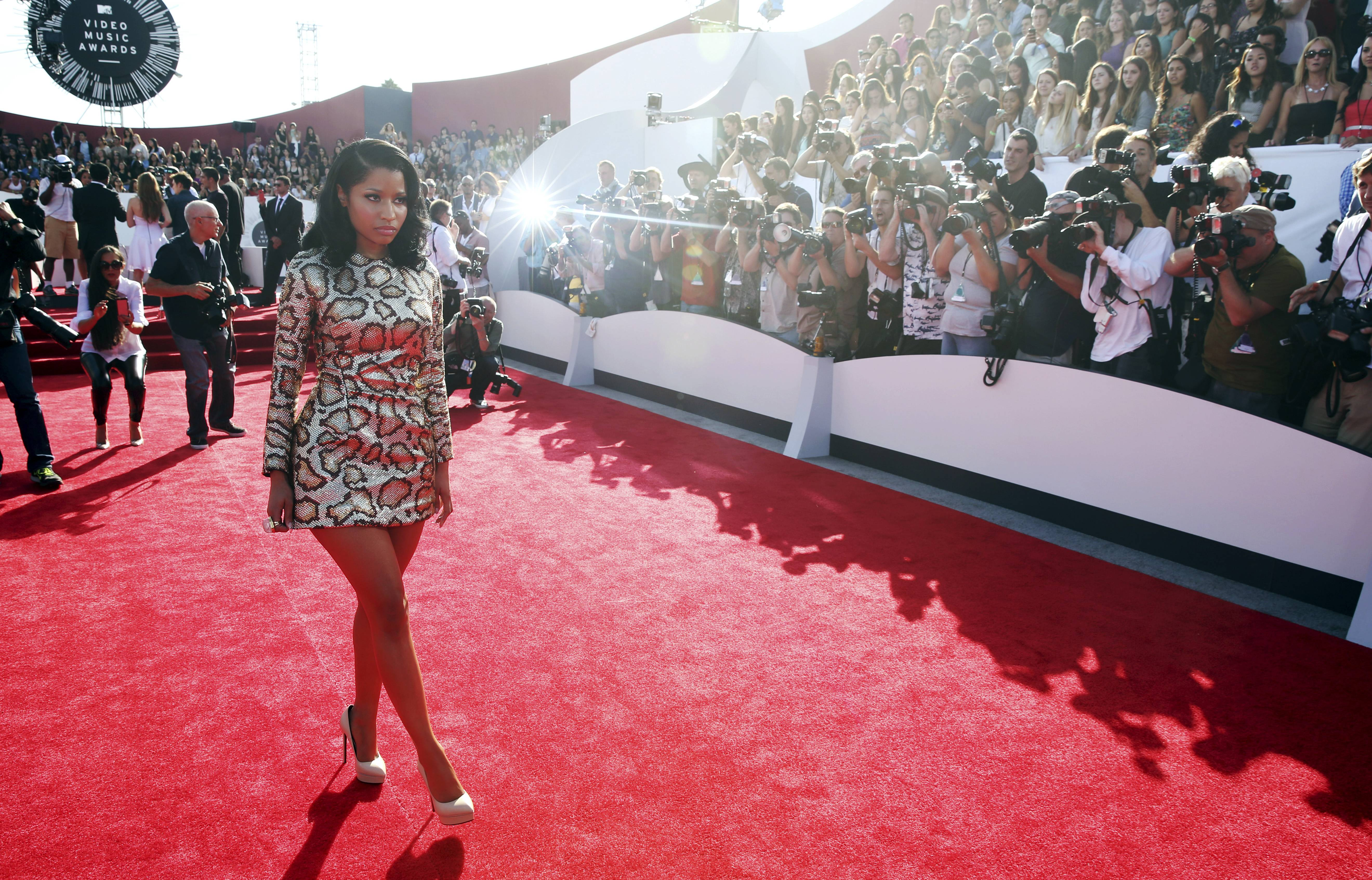 Nicki Minaj arrives at the MTV Video Music Awards on Sunday.