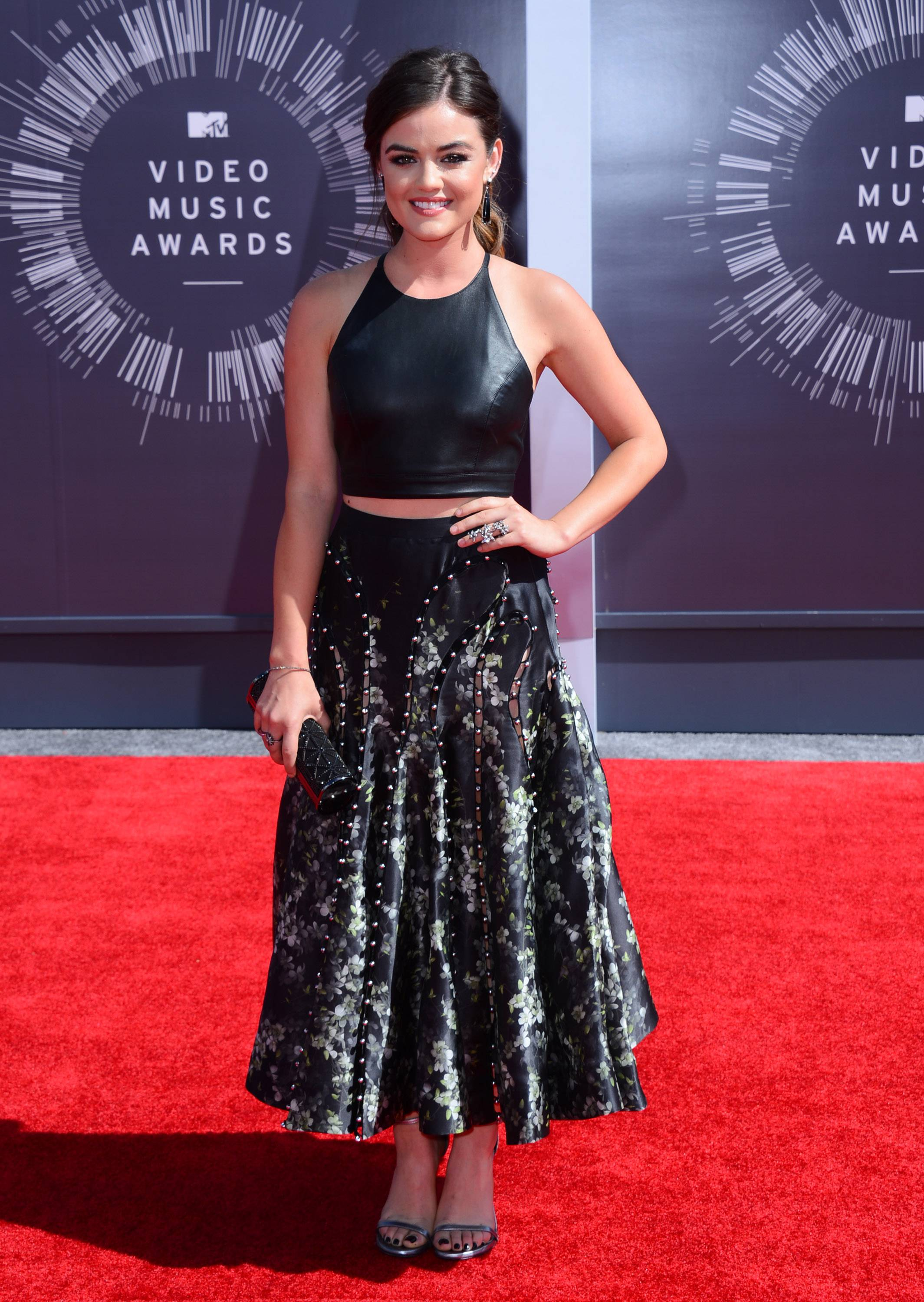 Pre-show host actress and singer Lucy Hale arrives at the MTV Video Music Awards at The Forum on Sunday in Inglewood, Calif.