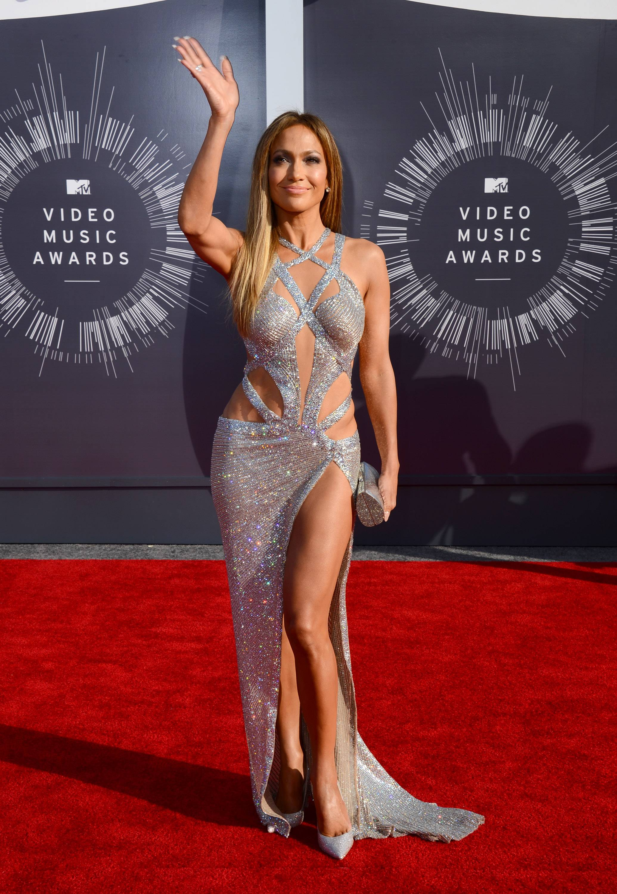 Jennifer Lopez arrives at the MTV Video Music Awards on Sunday.
