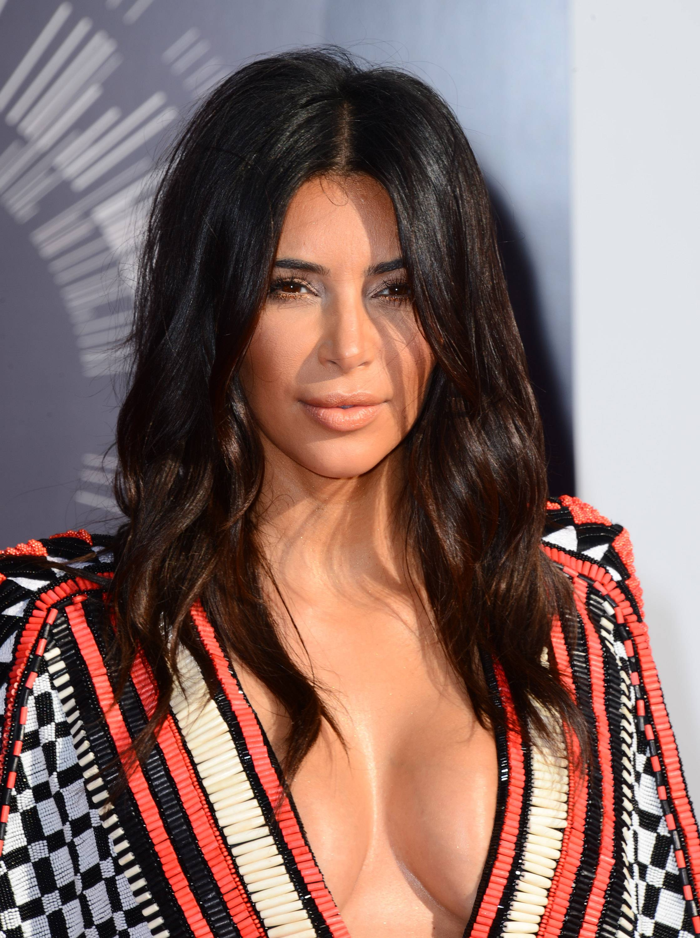 Kim Kardashian, who would later introduce a performance by Sam Smith, arrives at the MTV Video Music Awards.
