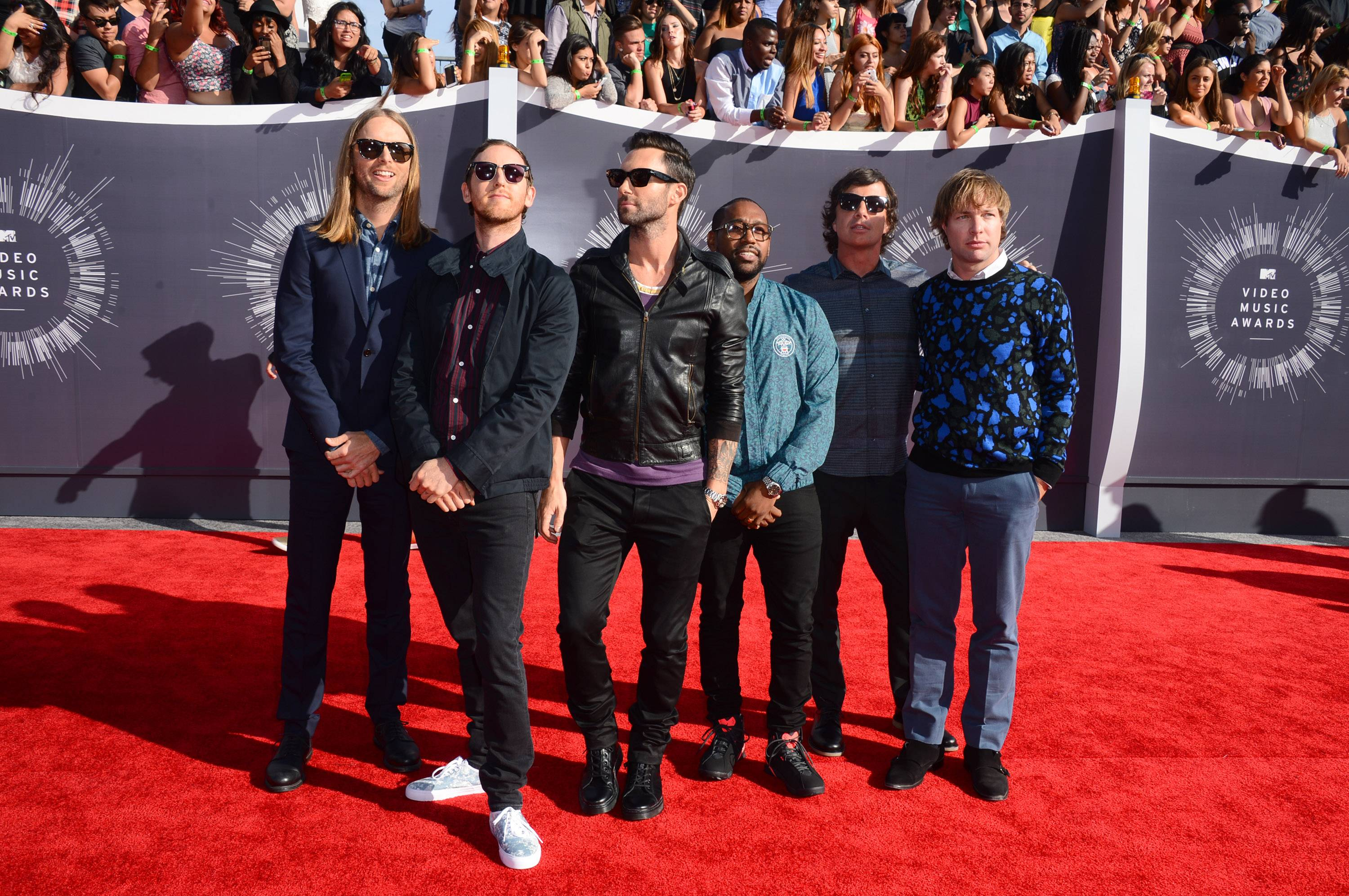 Maroon 5 arrives at the MTV Video Music Awards.