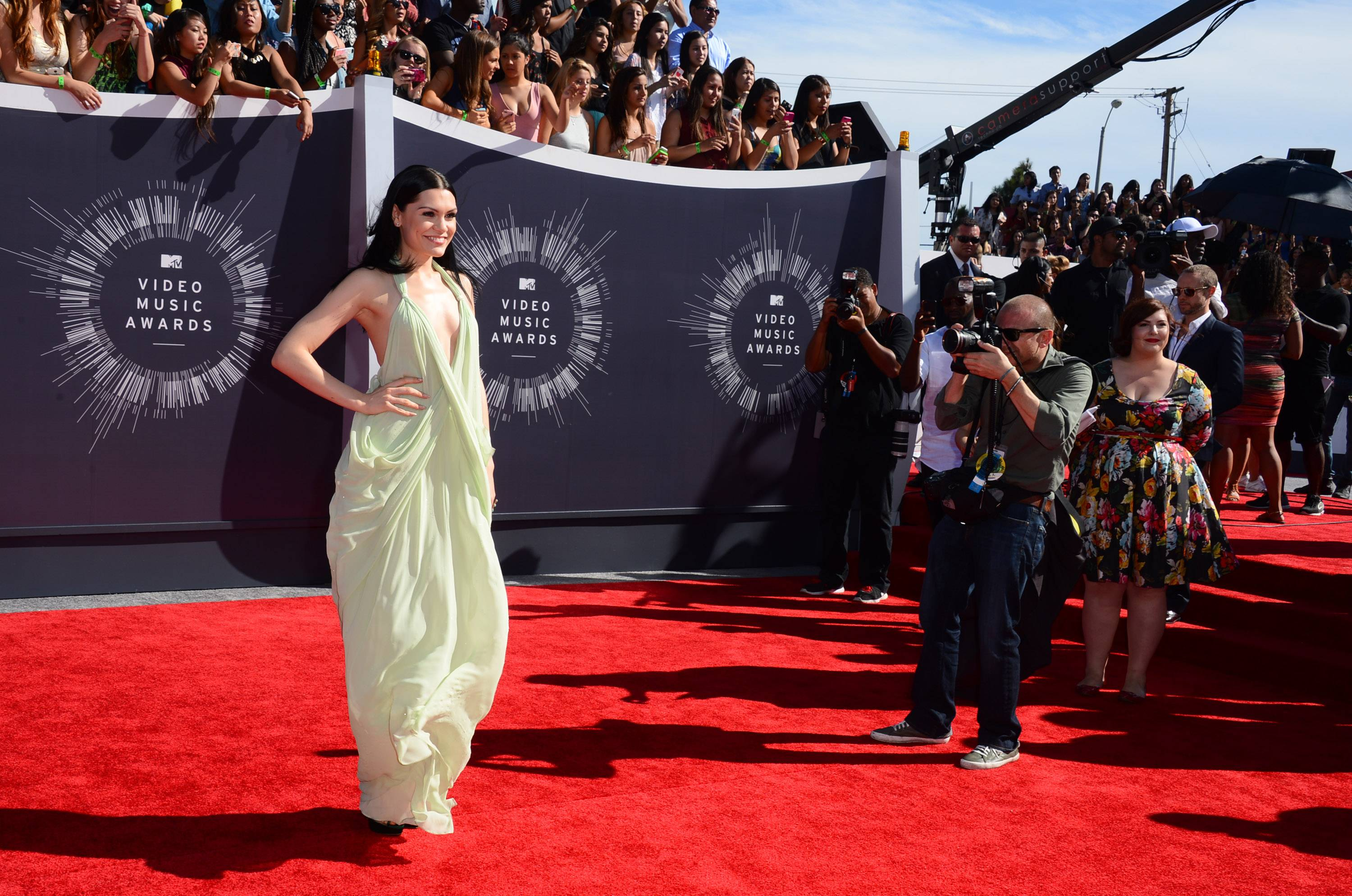 Jessie J arrives at the MTV Video Music Awards at The Forum on Sunday in Inglewood, Calif.