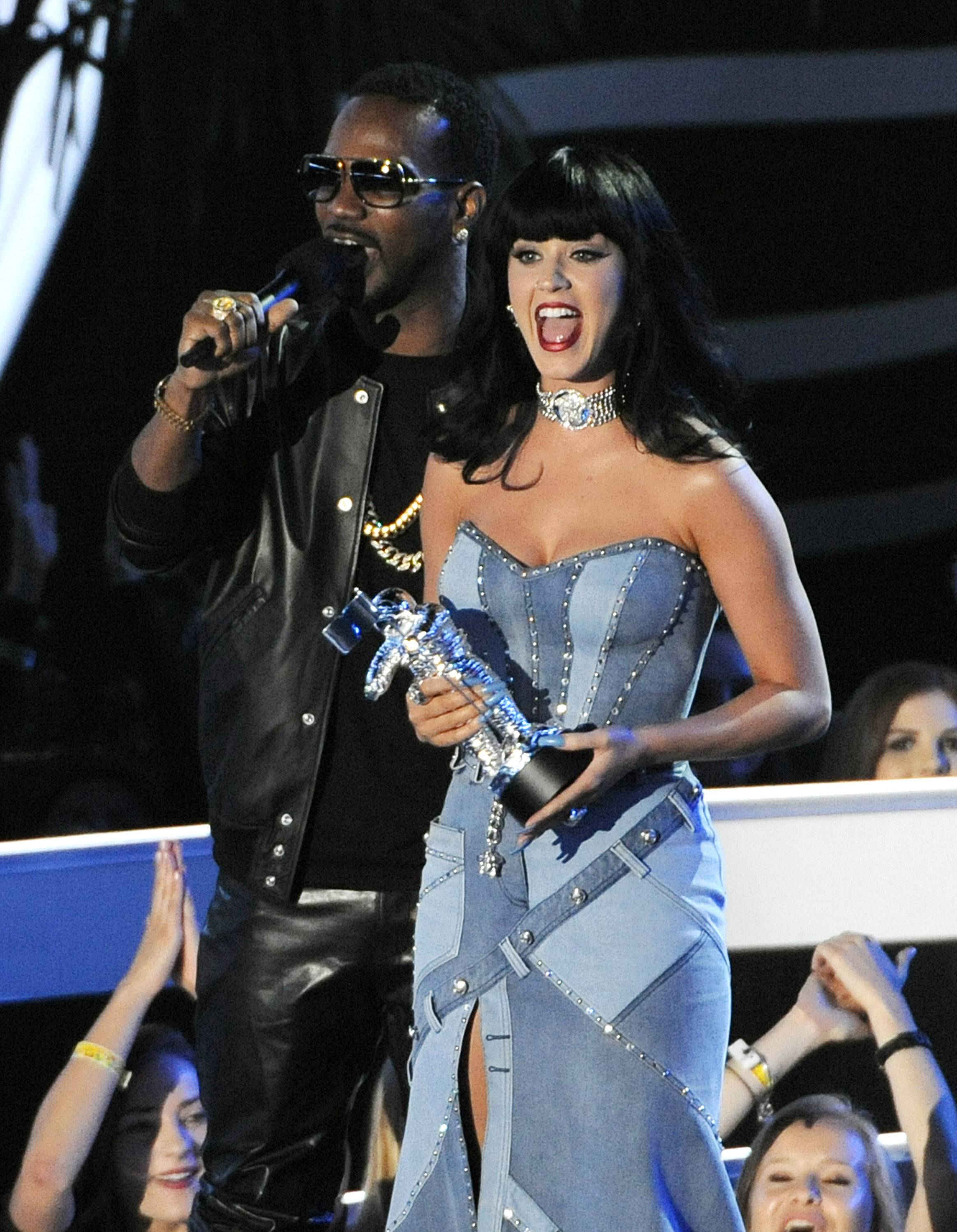 Katy Perry, right, and Juicy J accept the award for Best Female Video at the MTV Video Music Awards.