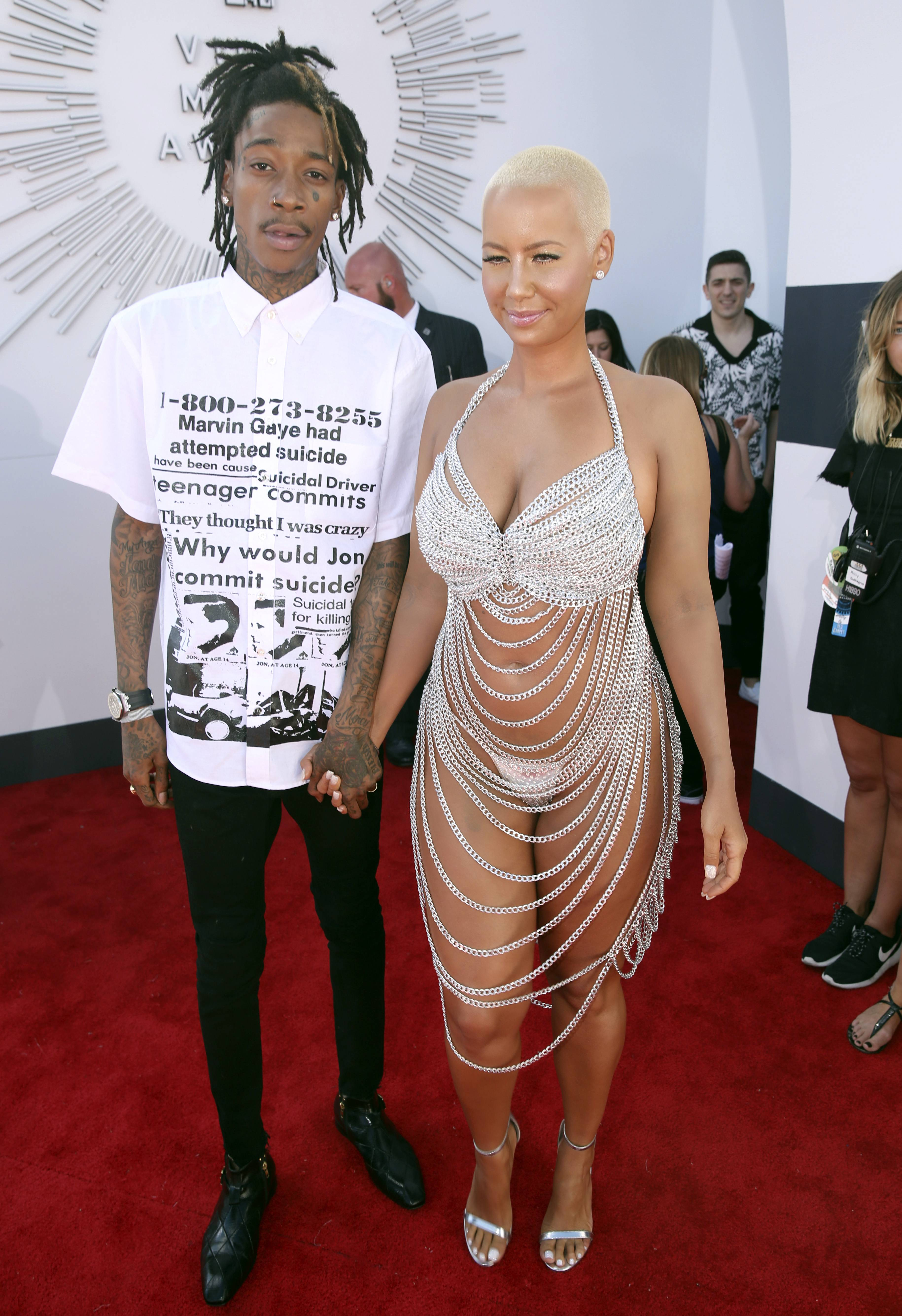 Wiz Khalifa and Amber Rose arrive at the MTV Video Music Awards at The Forum on Sunday in Inglewood, Calif.