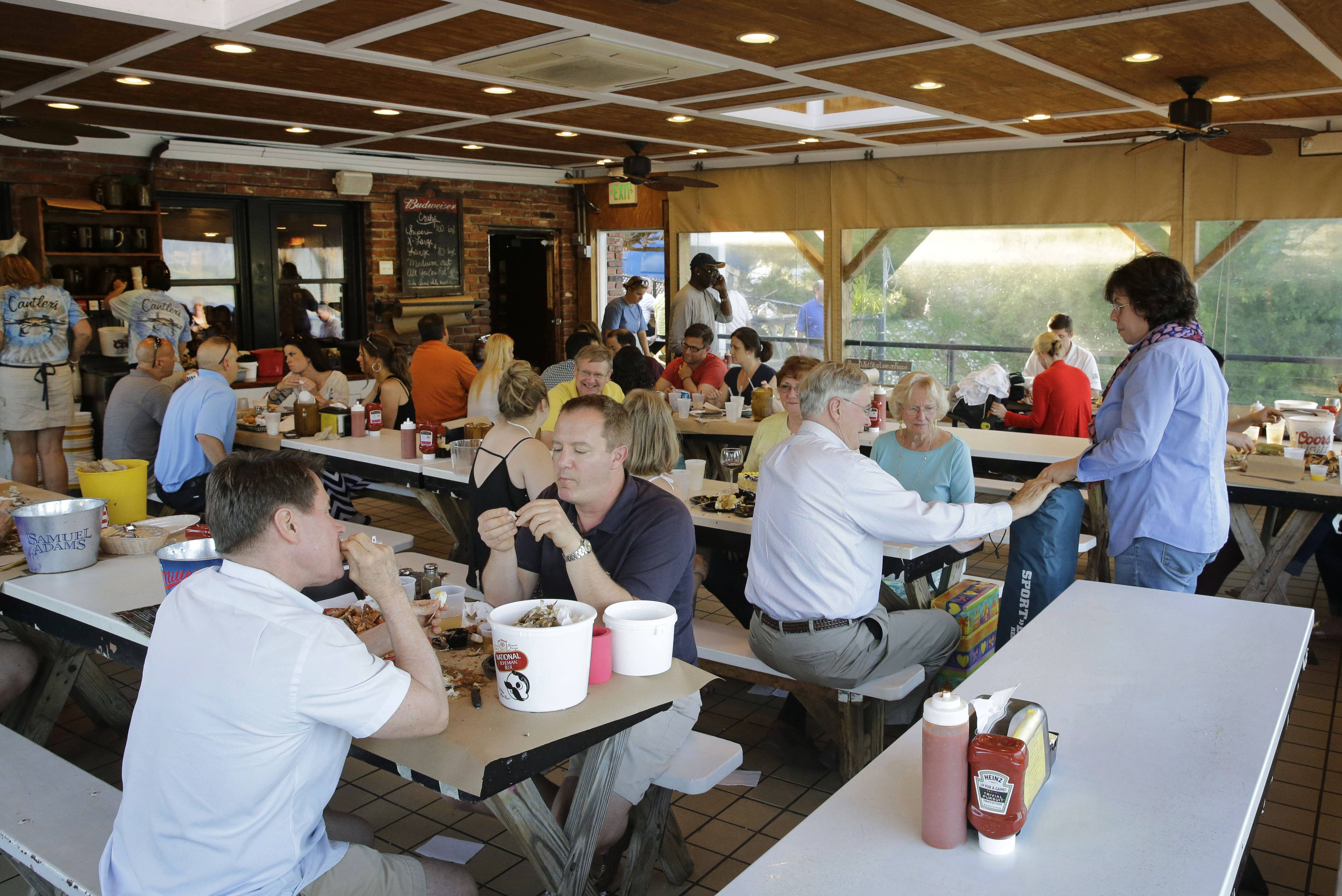 Diners eat at Jimmy Cantler's Riverside Inn in Annapolis, Md.