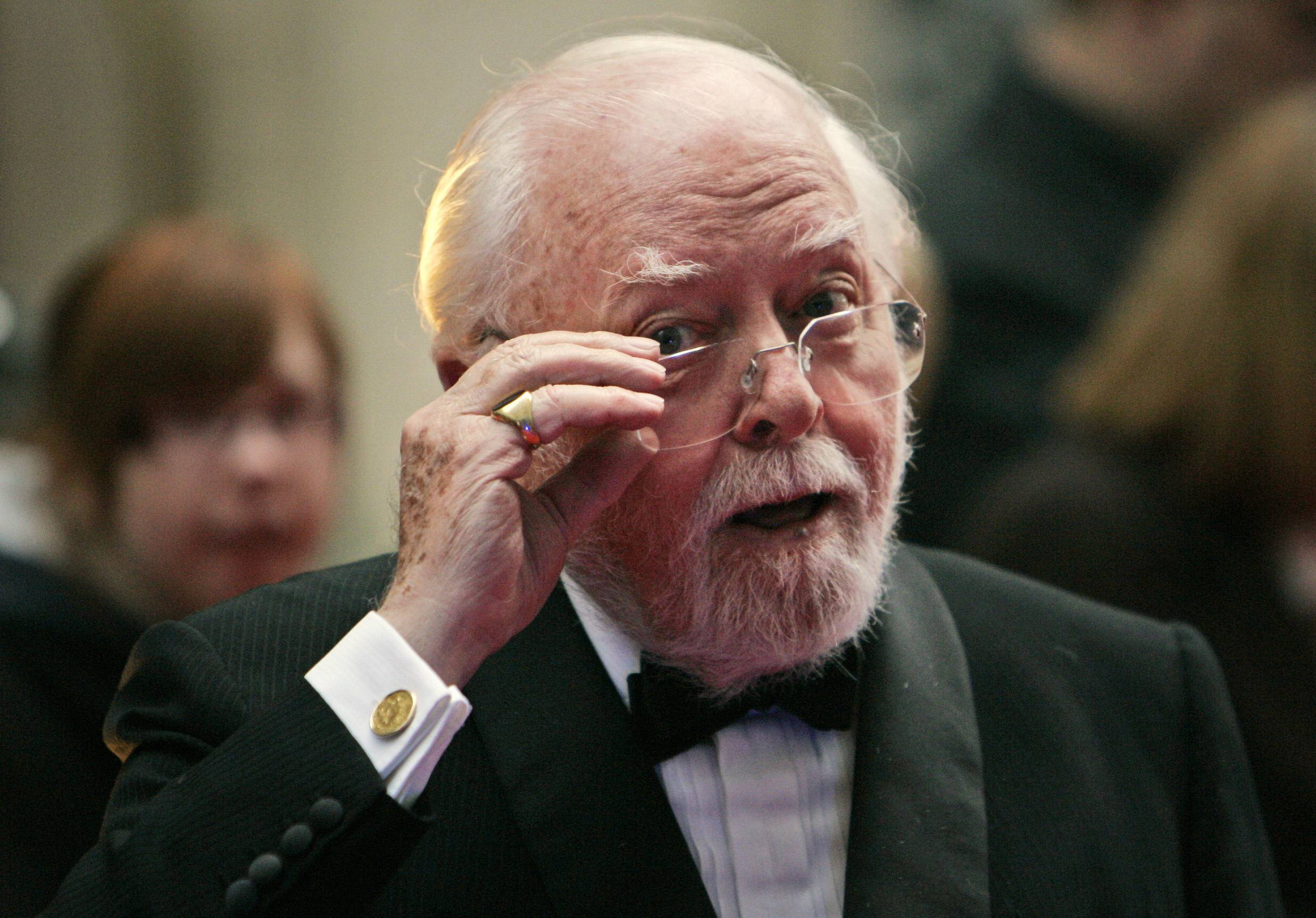 British actor and director Richard Attenborough arrives at the Galaxy British Book Awards in London April 9, 2008, The acclaimed actor and Oscar-winning director, whose film career on both sides of the camera spanned 60 years, died on Sunday. He was 90.