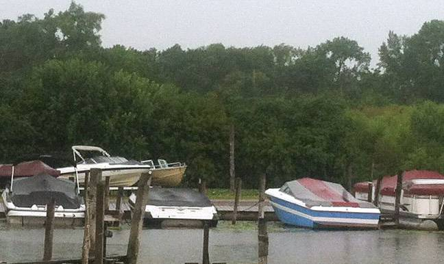 The Sayles property on Route 12 in Fox Lake is situated on Pistakee Lake, next to a marina with 300 boat slips.