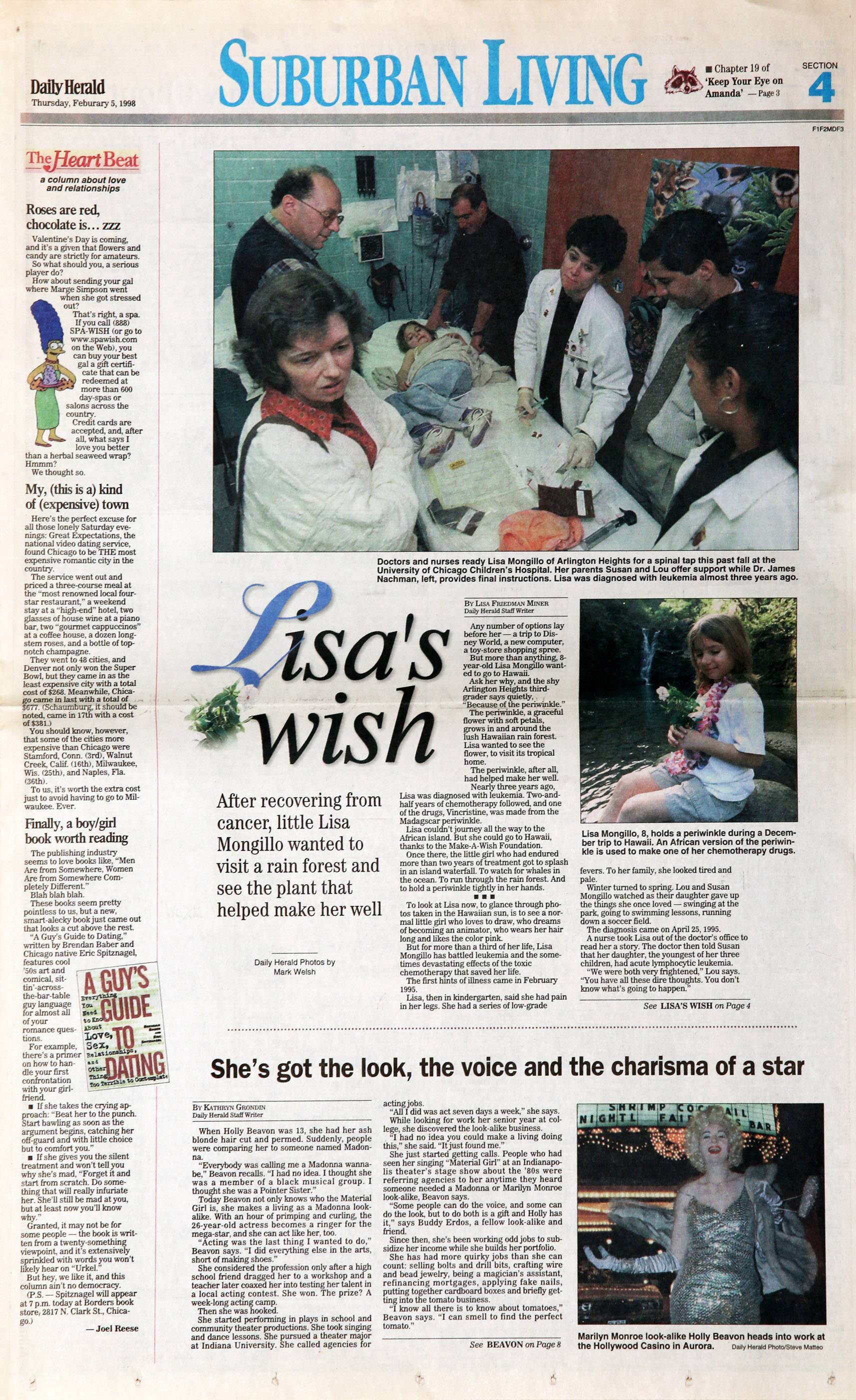 The subject of this Daily Herald story in 1998 about her leukemia treatments and Make-A-Wish trip to Hawaii, Lisa Mongillo is now a smart, healthy and funny 25-year-old writer and improv performer.