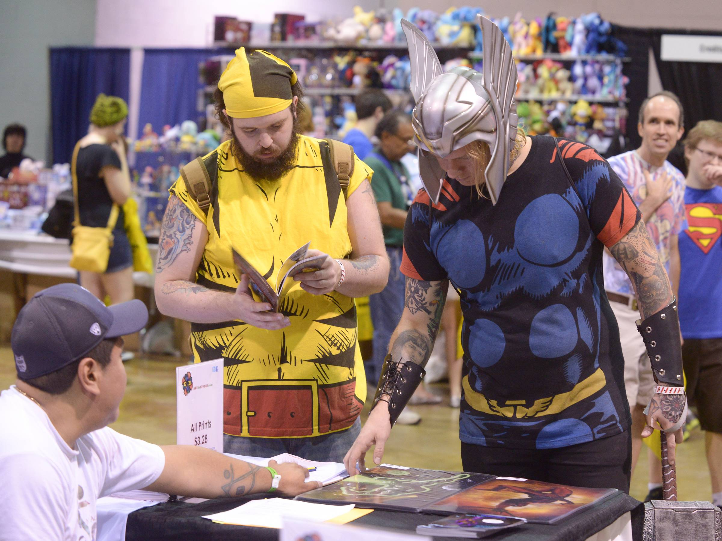 The Donald E. Stephens Convention Center in Rosemont was filled with many comic book fans such as Dan Parks and Ben Ervin of Ohio who came to Comic Con fully dress as Wolverine and Thor.
