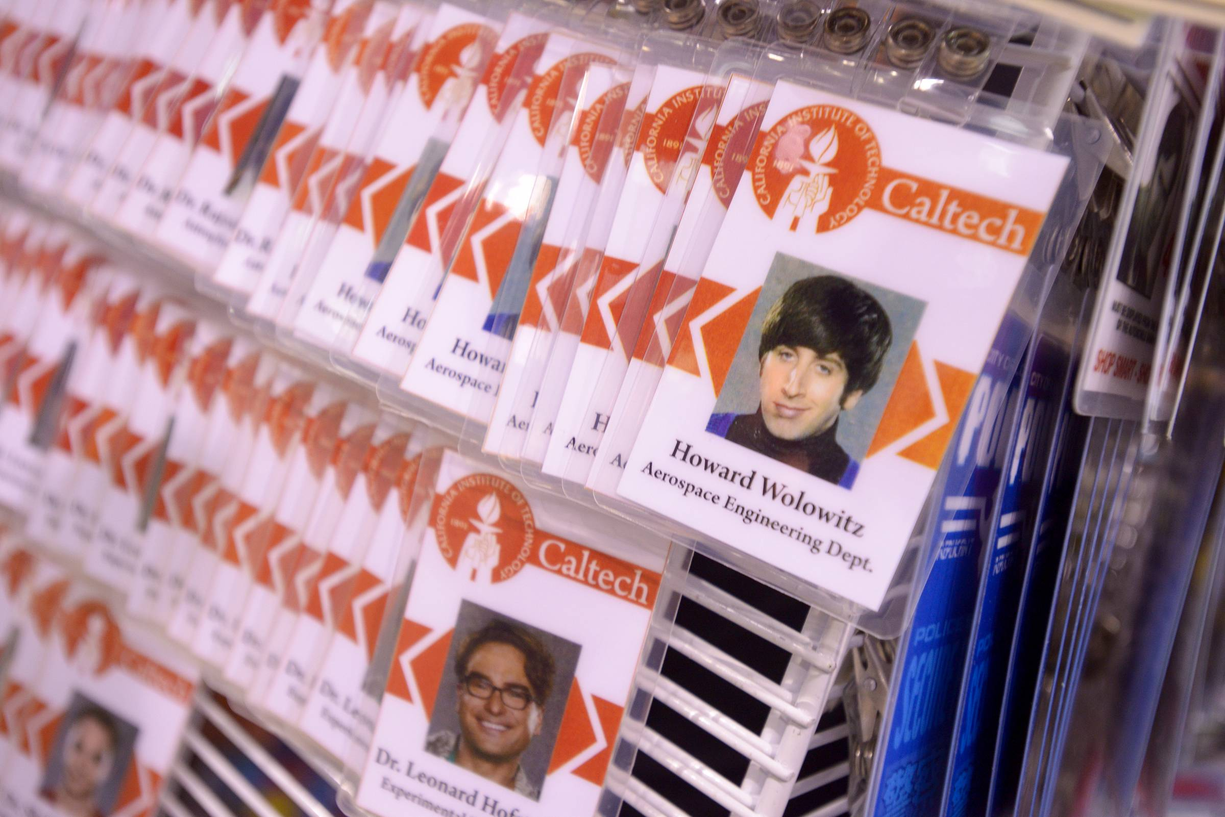 "Items such as ID name tags from the TV show ""The Big Bang Theory"" were on sale at the Comic Con convention at the Donald E. Stephens Convention Center in Rosemont."