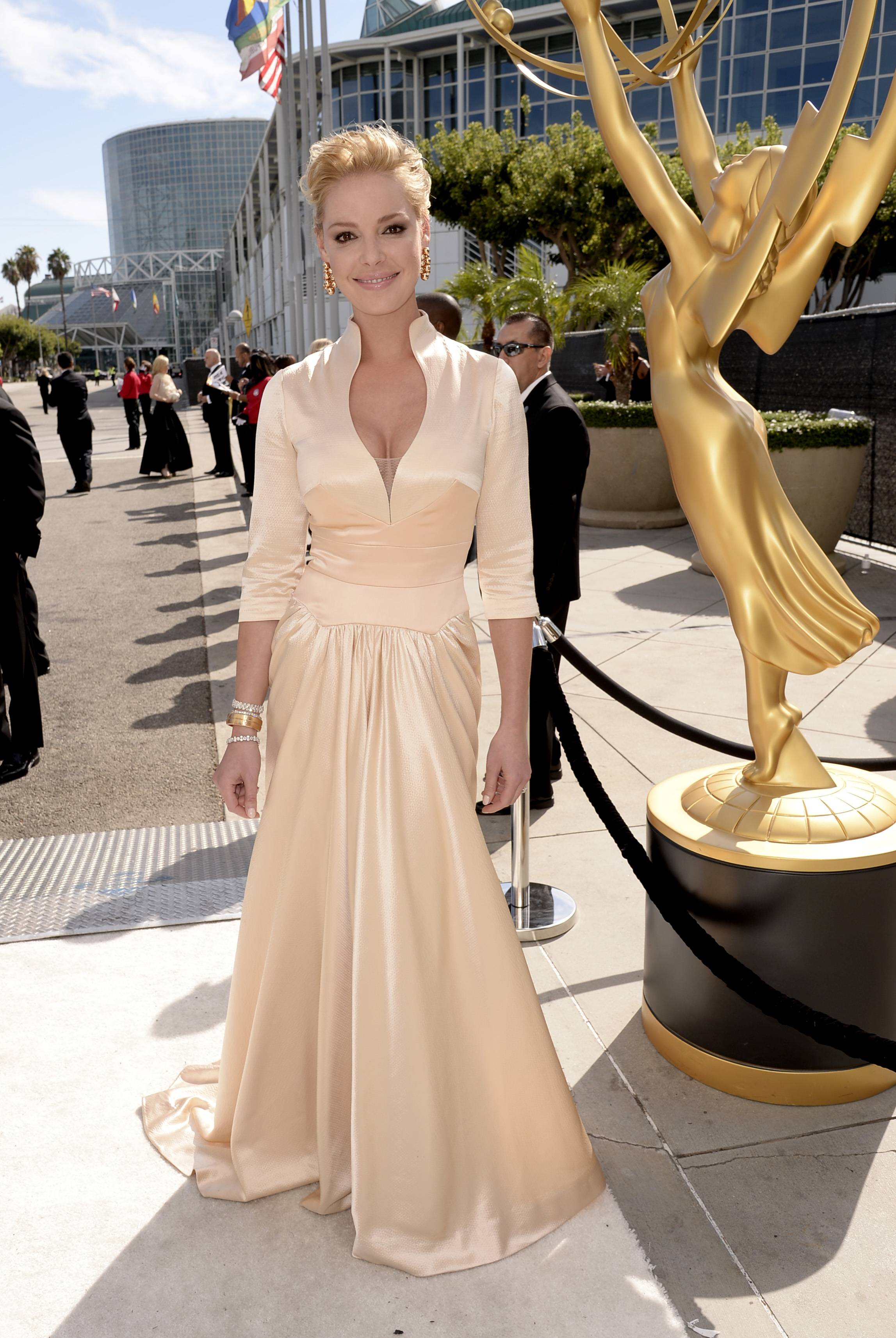 Katherine Heigl arrives at the 66th Primetime Emmy Awards at the Nokia Theatre.