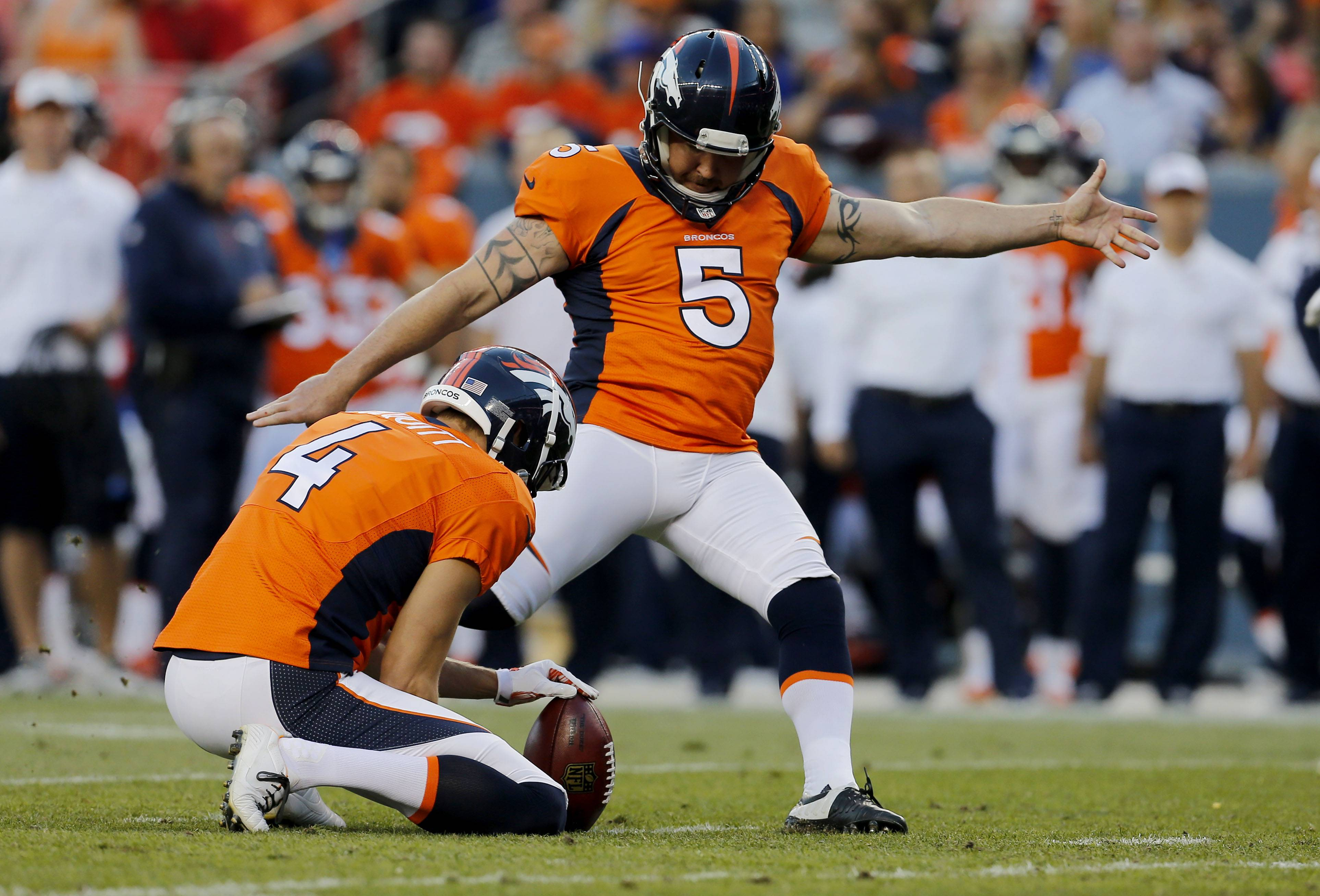 Denver Broncos kicker Matt Prater has been in the NFL's drug program, which includes alcohol, since a DUI arrest on Aug. 12, 2011.