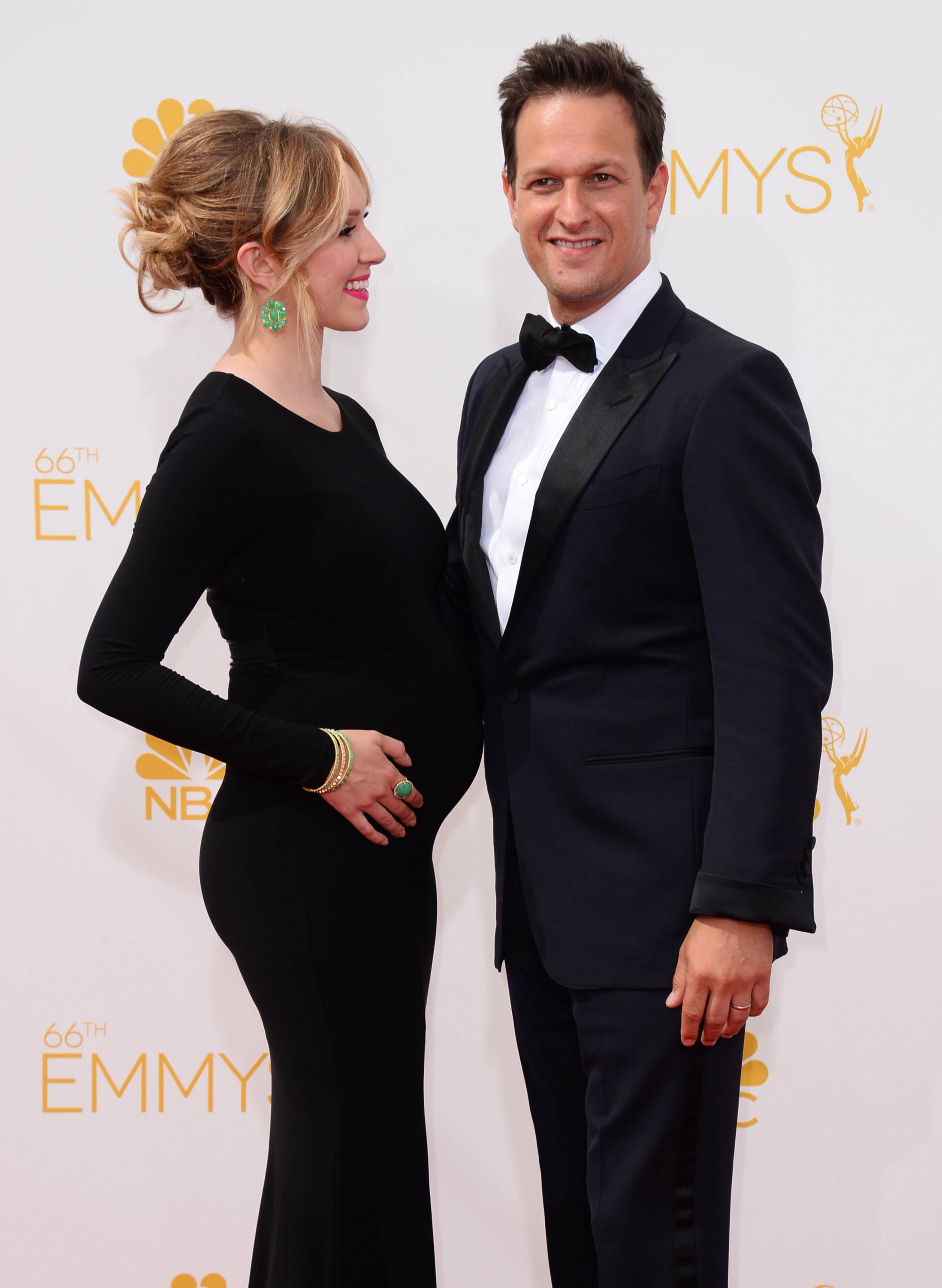 Sophie Flack, left, and Josh Charles arrive at the 66th Annual Primetime Emmy Awards.