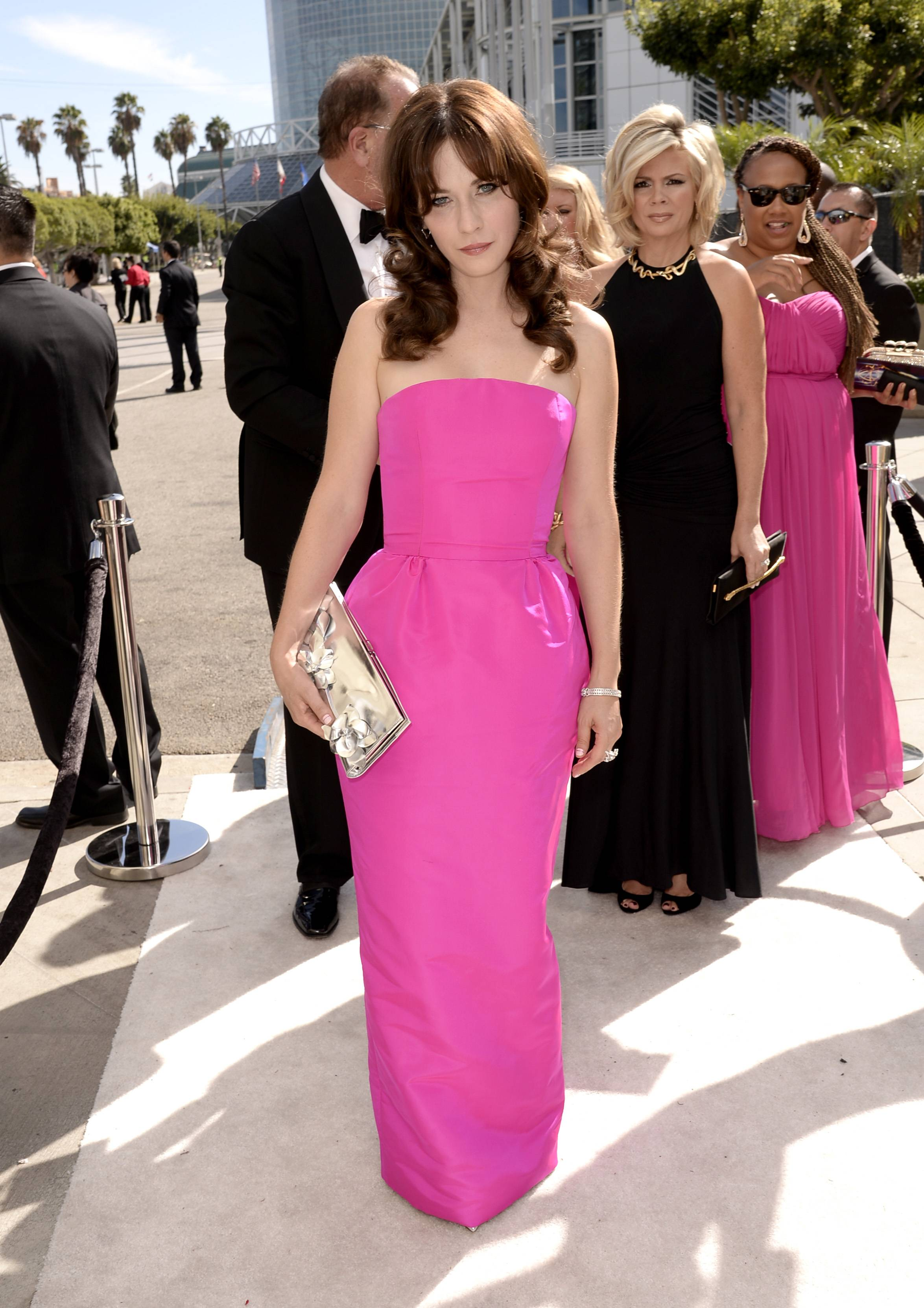 Zooey Deschanel arrives at the 66th Primetime Emmy Awards at the Nokia Theatre.