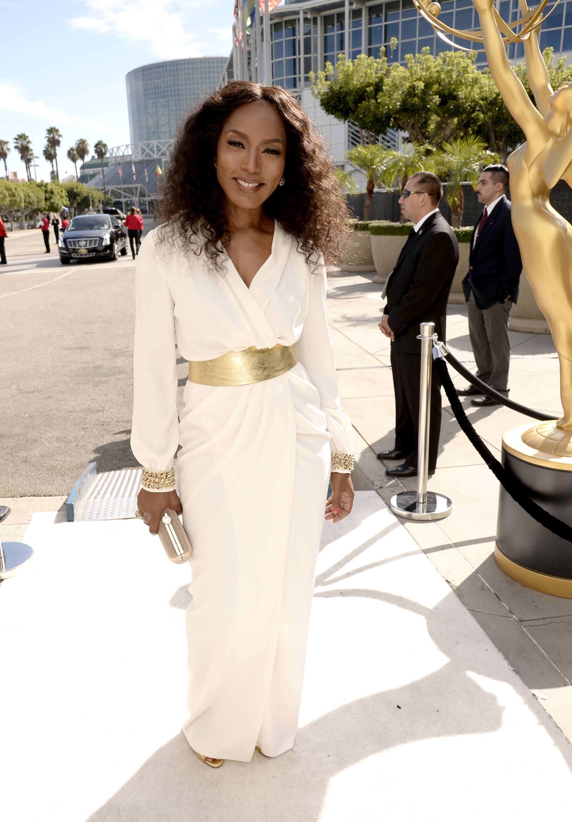 Angela Bassett arrives at the 66th Primetime Emmy Awards at the Nokia Theatre.