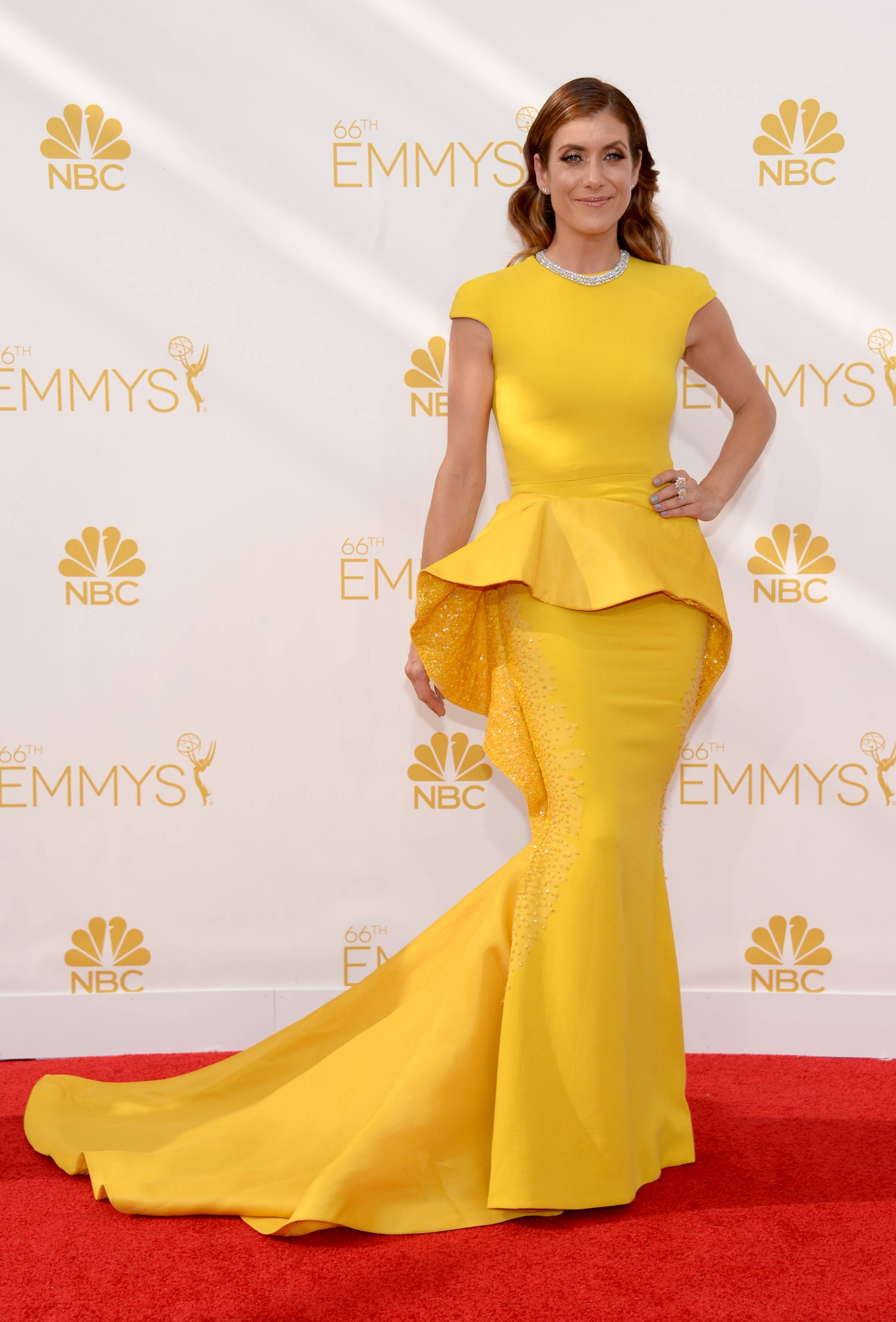 Kate Walsh arrives at the 66th Primetime Emmy Awards at the Nokia Theatre.