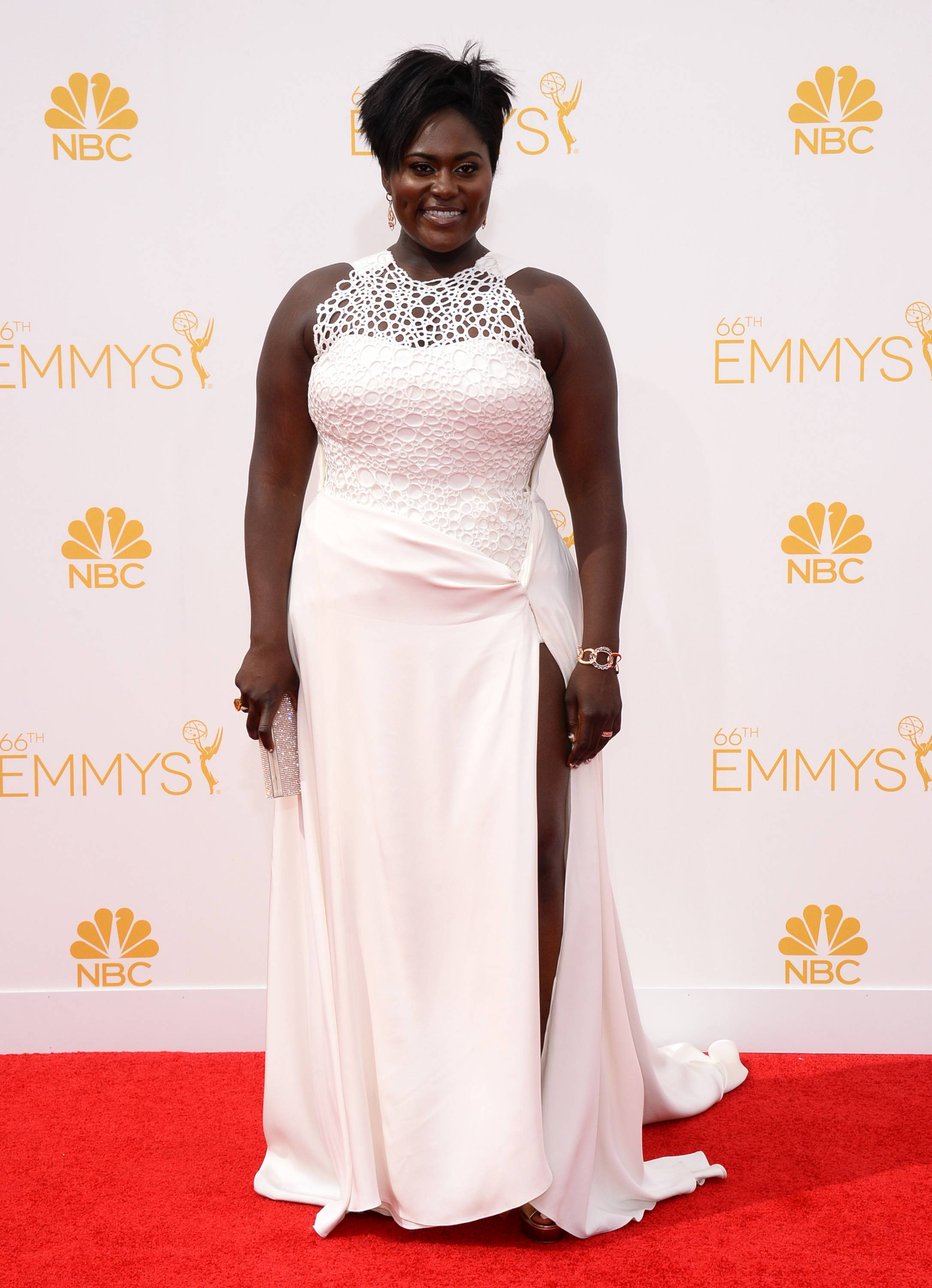 Danielle Brooks arrives at the 66th Annual Primetime Emmy Awards at the Nokia Theatre.