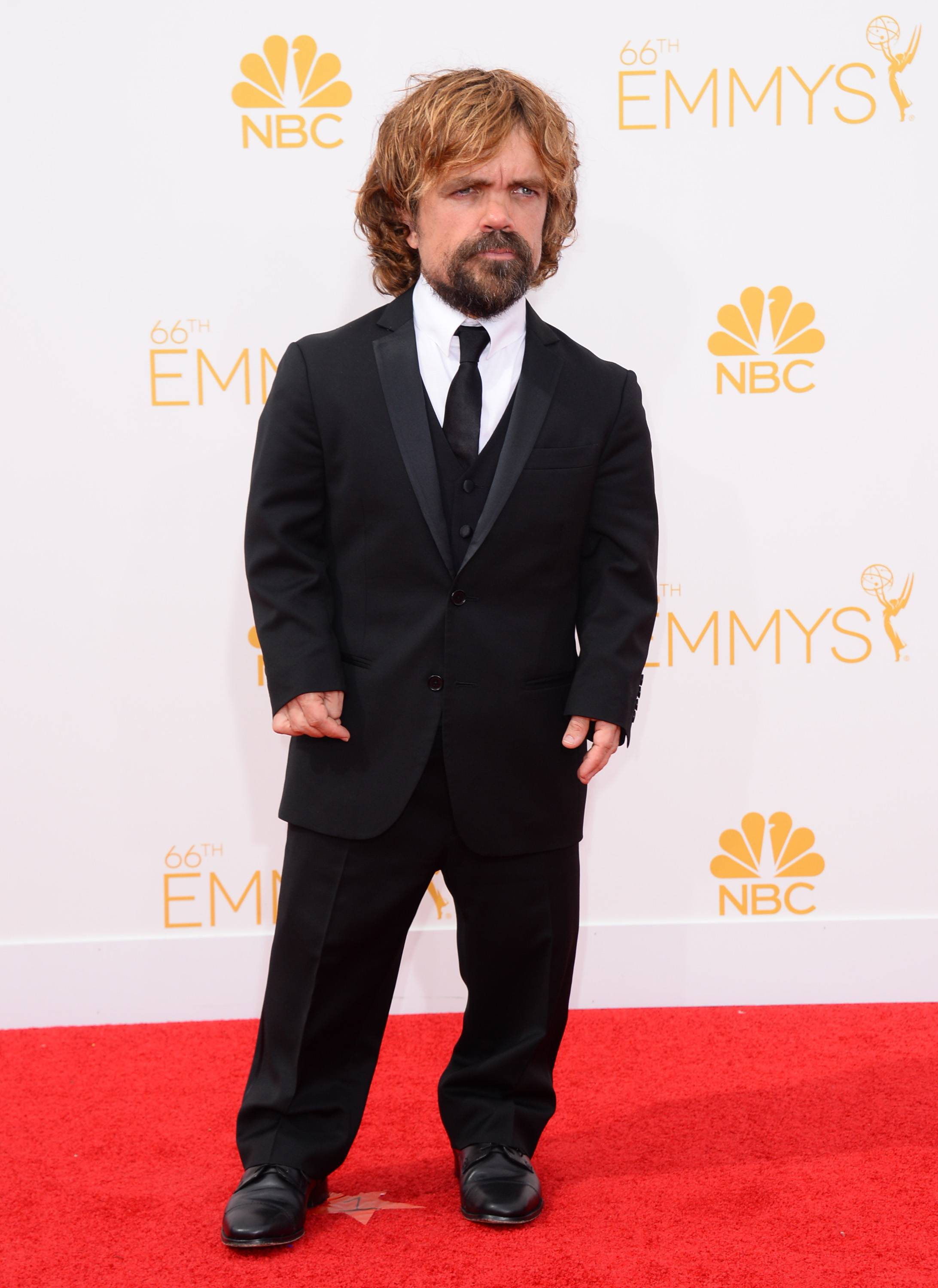Peter Dinklage arrives at the 66th Annual Primetime Emmy Awards at the Nokia Theatre.