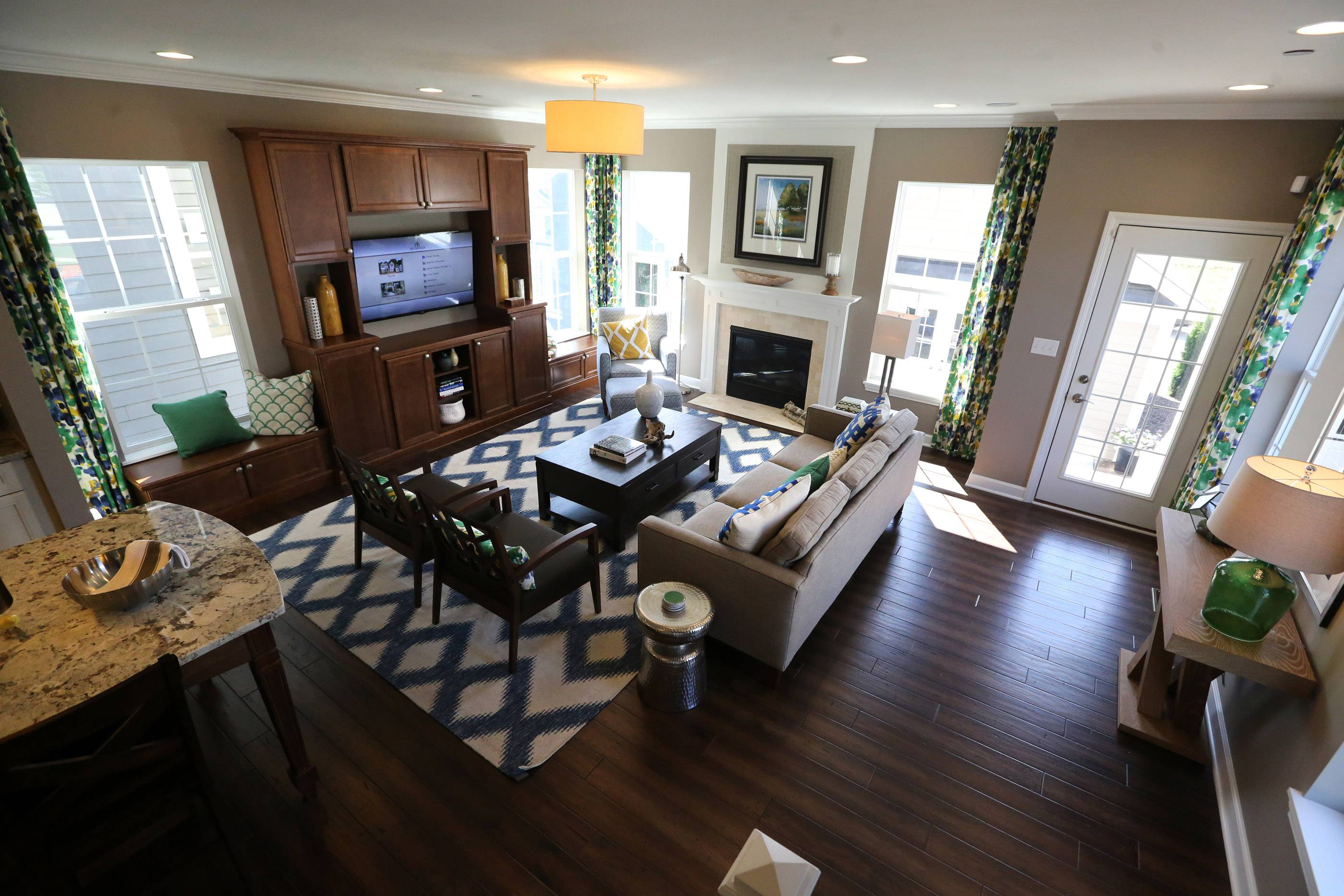 Living room in Chelsea model at Arlington Market in Arlington Heights.