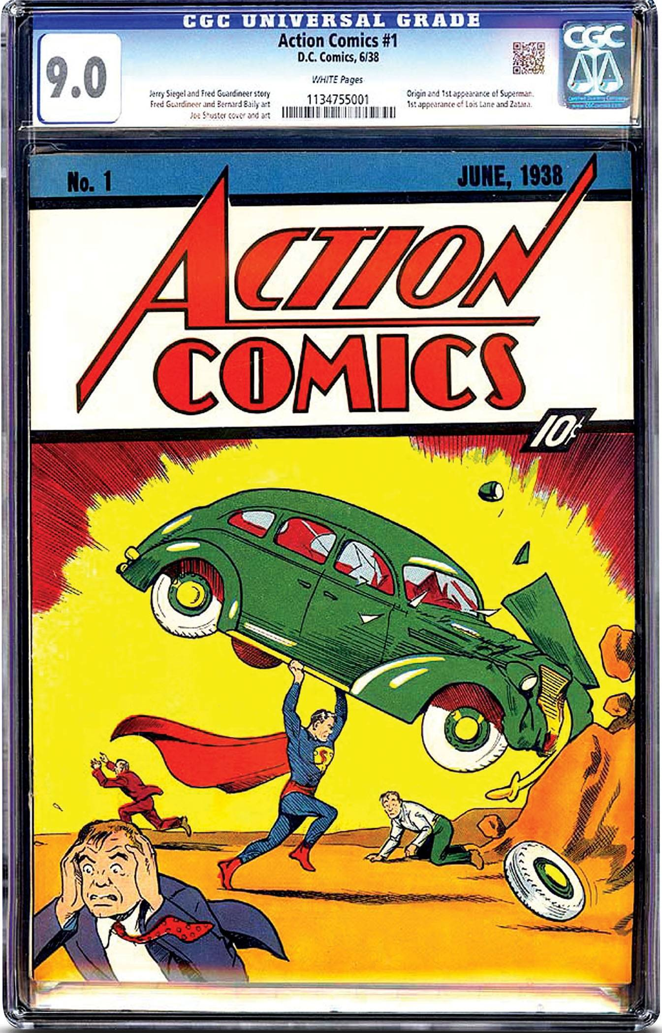 This is a nearly flawless copy of Superman's comic-book debut that sold for $3.2 million. About 100 to 150 copies are believed to exist, but only a handful of them in top condition. The book just sold received a seldom-seen 9.0 on a 10-point scale used to measure vintage comic books' condition.