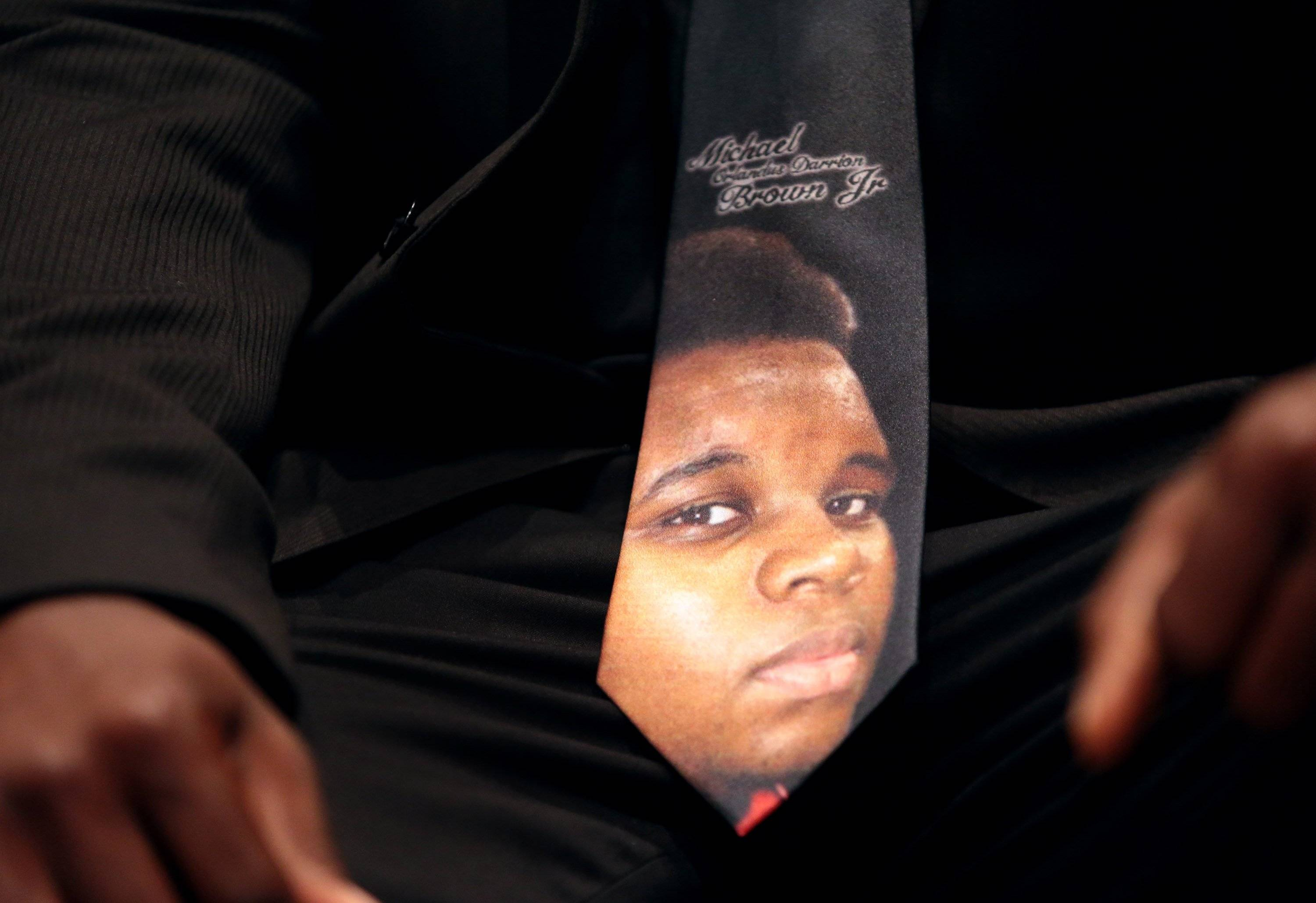 Michael Brown's tie bore his son's picture.
