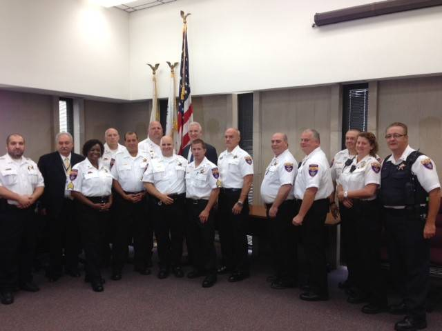 At the recent promotion ceremony at the Lake County Court Complex, front row, from left: Sgt. Nora Wilson, Sgt. Richard Geirlach, Sgt. Robert Kenyon, Sgt. Timothy Pfleger, Deputy Chief Ted Uchiek, Chief David Wathen, Lt. Gerald Alter, Lt. Megan Mercado, and Lt. John Lucas. Back row, from left: Undersheriff Raymond J. Rose, Sgt. Timothy Reidy, Sgt. George Love, Sheriff Mark C. Curran Jr., and Sgt. Daniel Sheline.