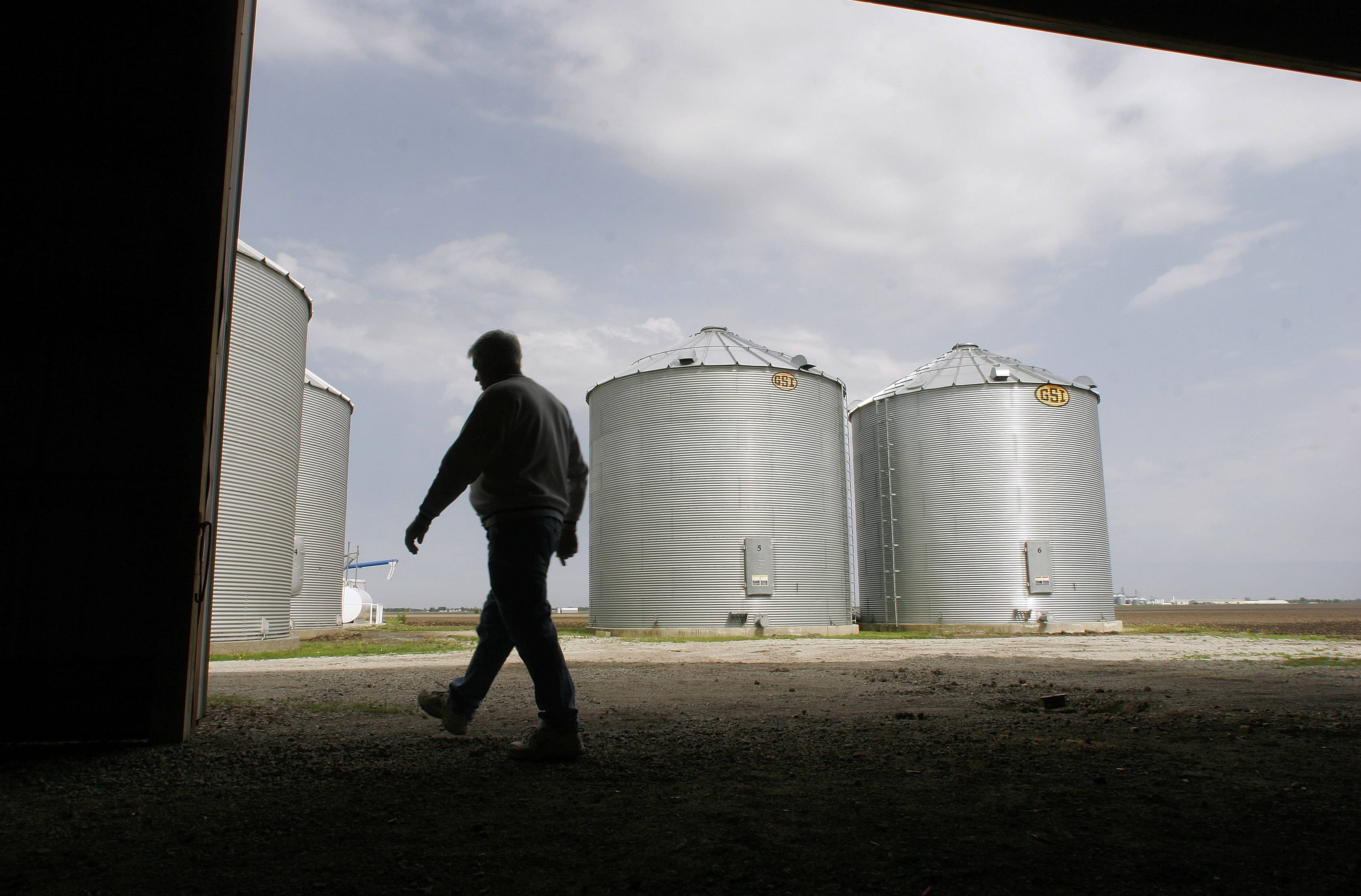 Lower prices for corn and soybeans will drive the profits of U.S. farmers down to an estimated $113.2 billion in 2014, a decline of 14 percent from last year's record, according to the Department of Agriculture.