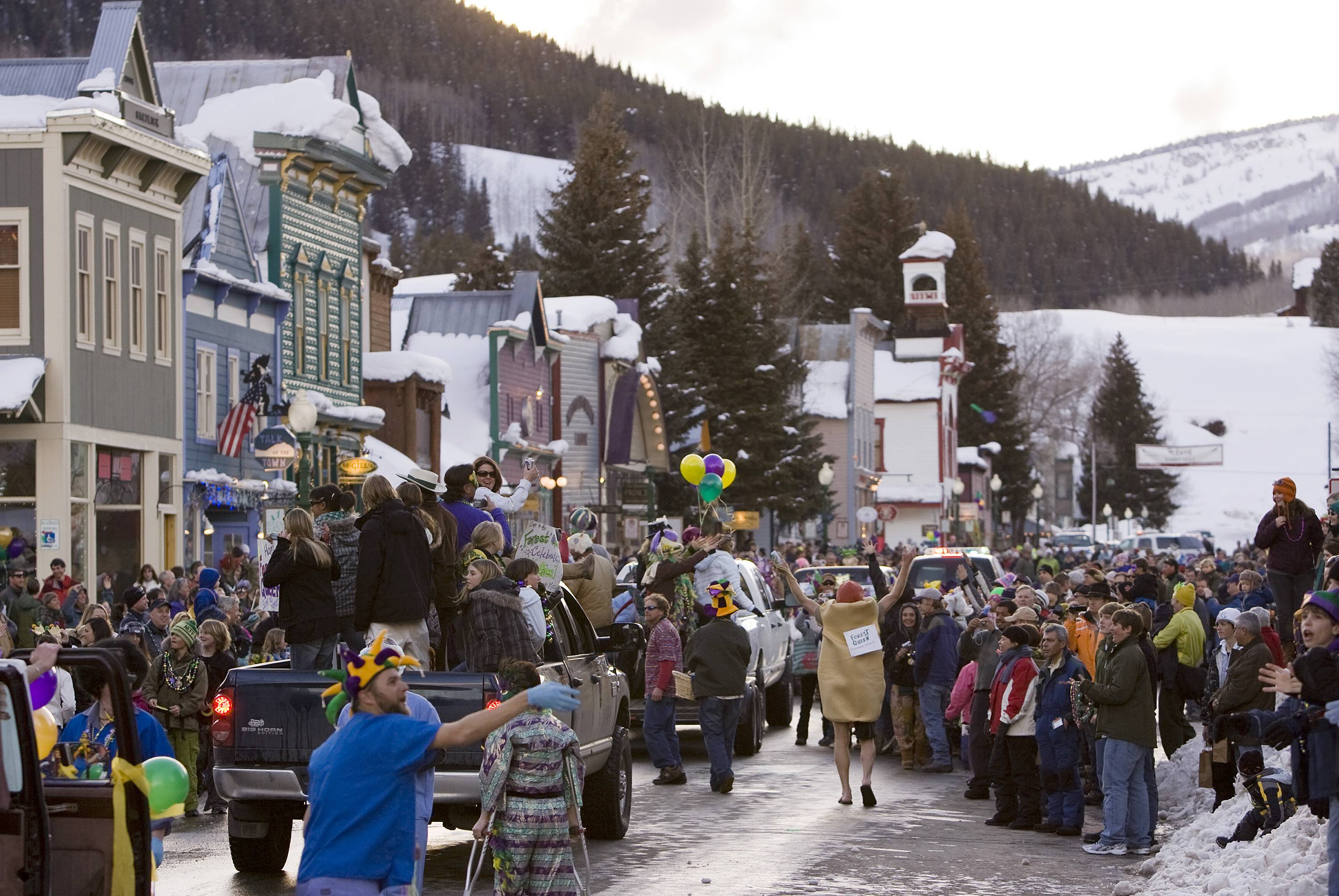 Mardi Gras is celebrated in Crested Butte, Colo., Feb. 24, 2009. Some people in normally laid back Crested Butte, are not up for a secretive Bud Lite plan to paint their mountain town blue and turn it into a fantasy city for an ad campaign.