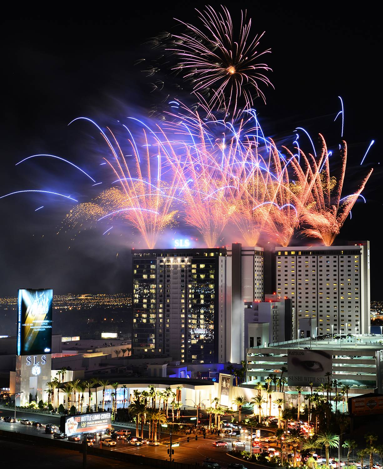 Fireworks erupt over the SLS Las Vegas during a grand opening celebration on the Las Vegas Strip Friday. The SLS is an all-encompassing resort and casino with more than 1,600 guest rooms and suites.