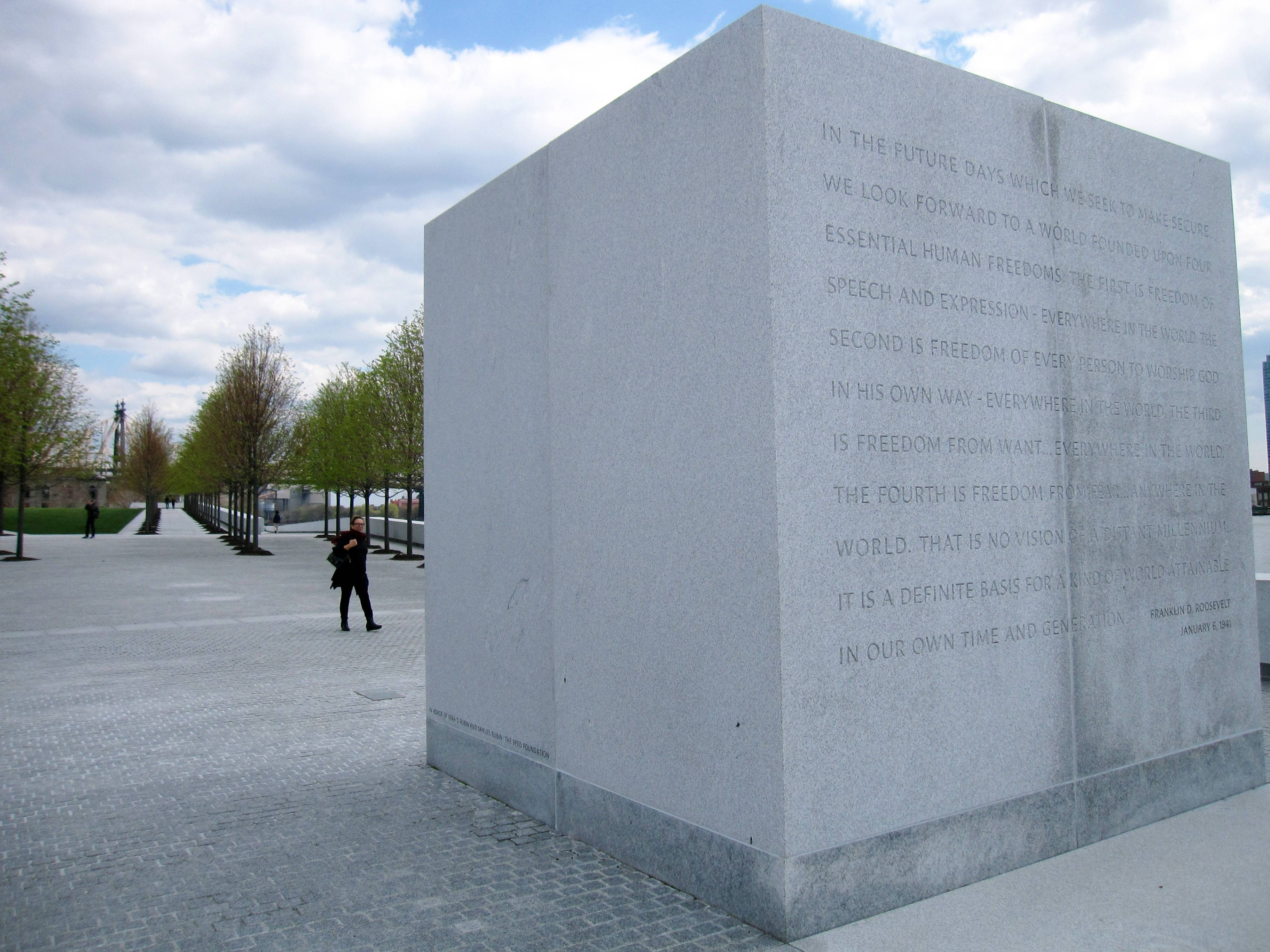 "This stone monument at Franklin D. Roosevelt Four Freedoms Park, located on Roosevelt Island in New York City, bears an excerpt from President Roosevelt's ""Four Freedoms"" speech, delivered Jan. 6, 1941, declaring freedom of speech, freedom of worship, freedom from want and freedom from fear to be ""essential human freedoms ... attainable in our own time."""
