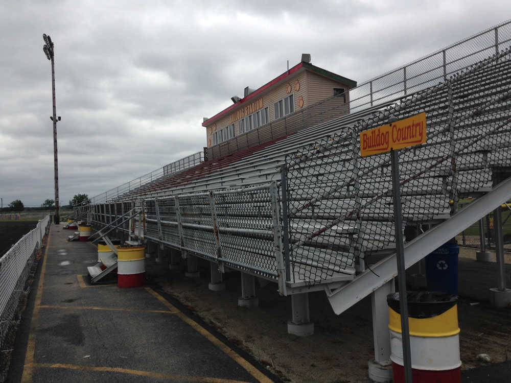 The home grandstand in the stadium at Batavia High School would be replaced with a larger one, under plans the school district is considering for spending $15 million on capital projects, if voters approve.