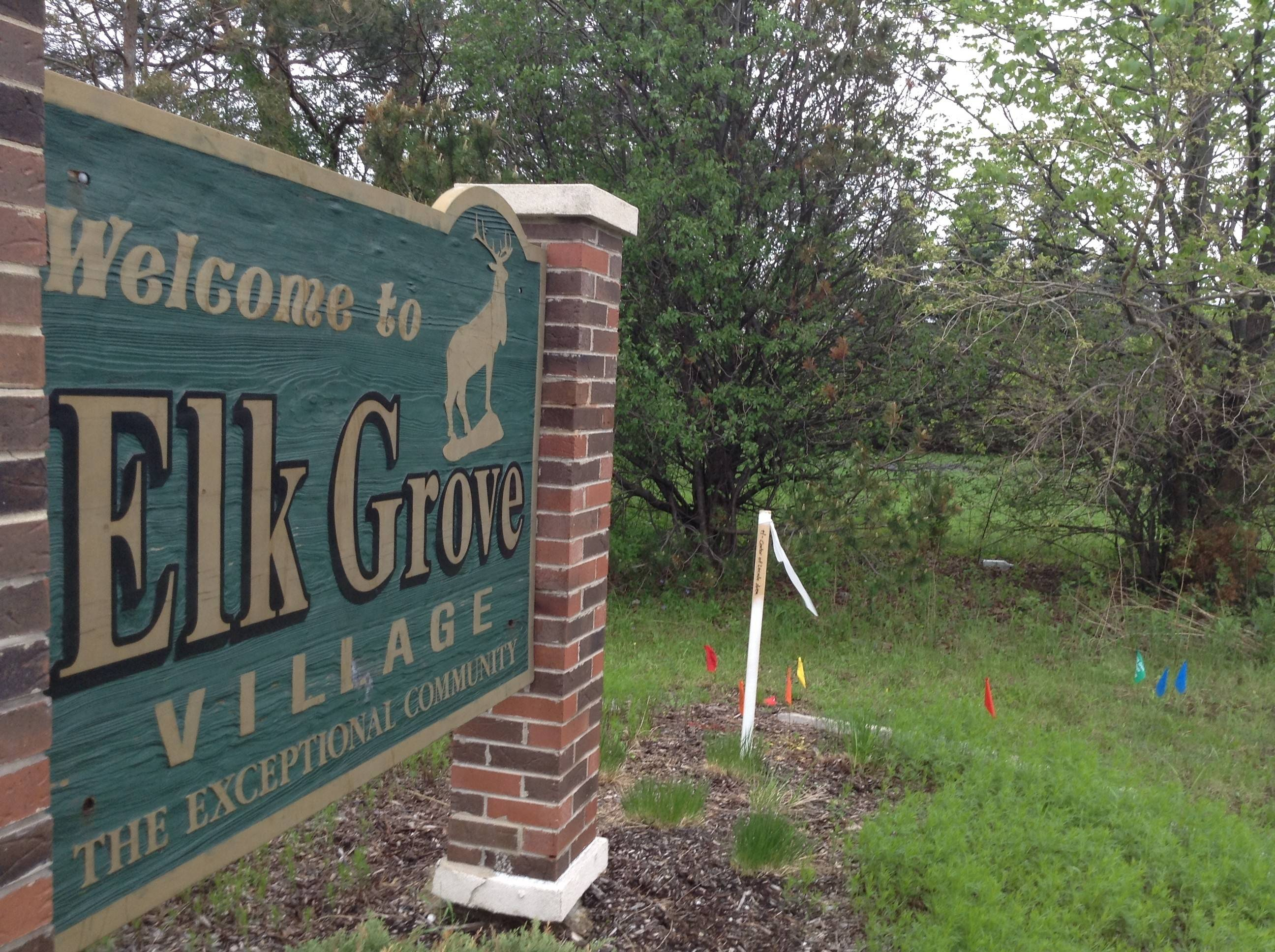 An Elk Grove Village gateway sign on Ridge Avenue north of Devon Avenue is one of six that will be replaced next year with a new LED-illuminated sign.