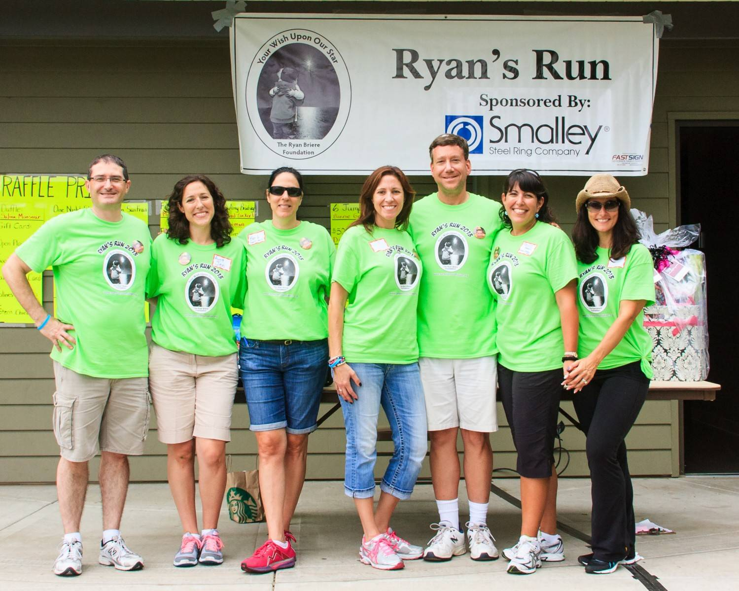 Ryan Briere Foundation Board and Committee members celebrate a successful Ryan's Run in 2013. From left: board and committee member Frederick Briere (Ryan's father); commitee members Jennifer Mehr and Barb Stark; board and committee member Lori Briere (Ryan's mother); board member Jay Krames; and commitee members Trudi Krames and Dr. Michelle Carafiol.