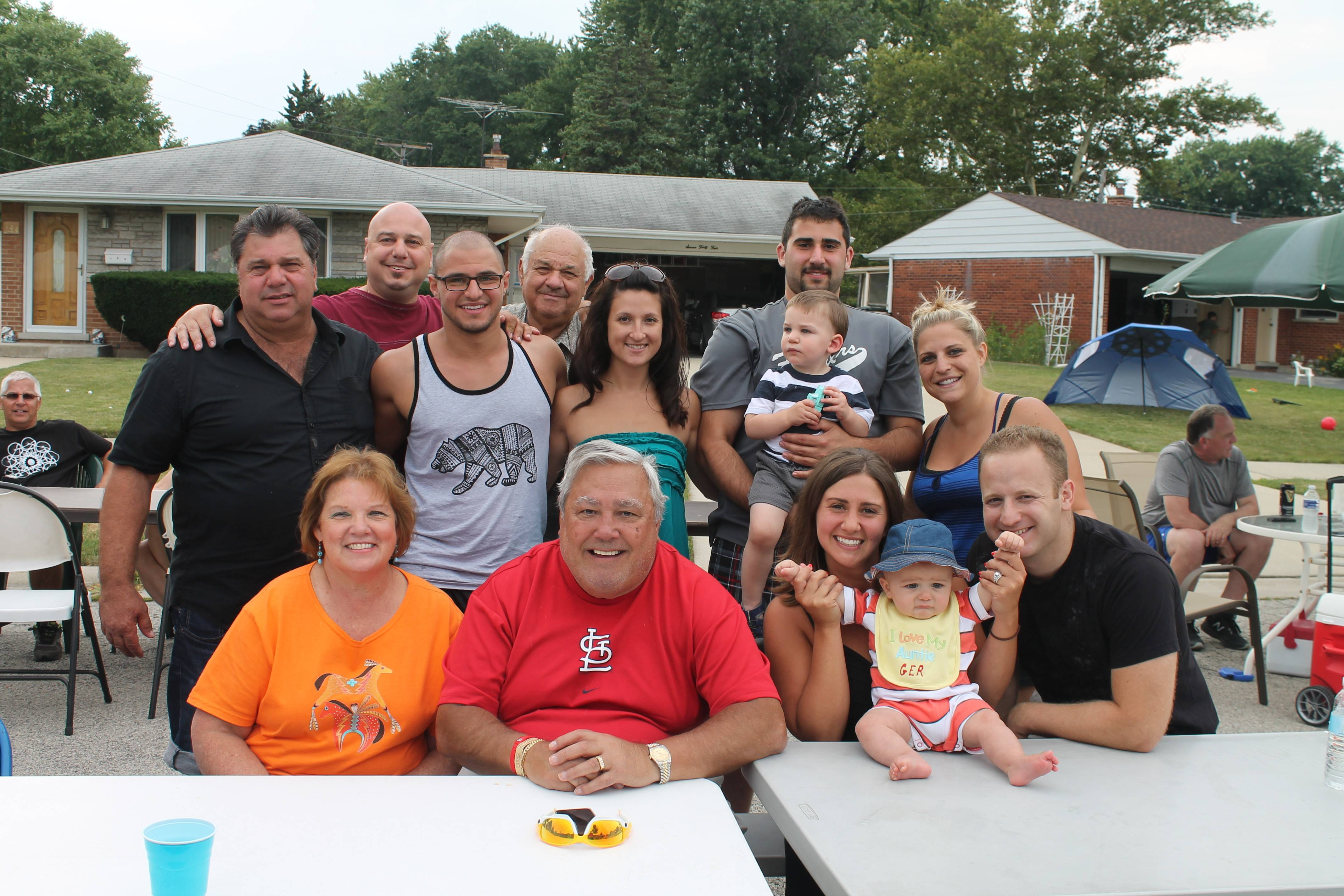 Fourth Ward Alderman Dick Sayad, front row, second from left, and his wife Patty, are pictured with just a few of the 150 participants of the 27th annual Shawn Lane Block Party in Des Plaines.