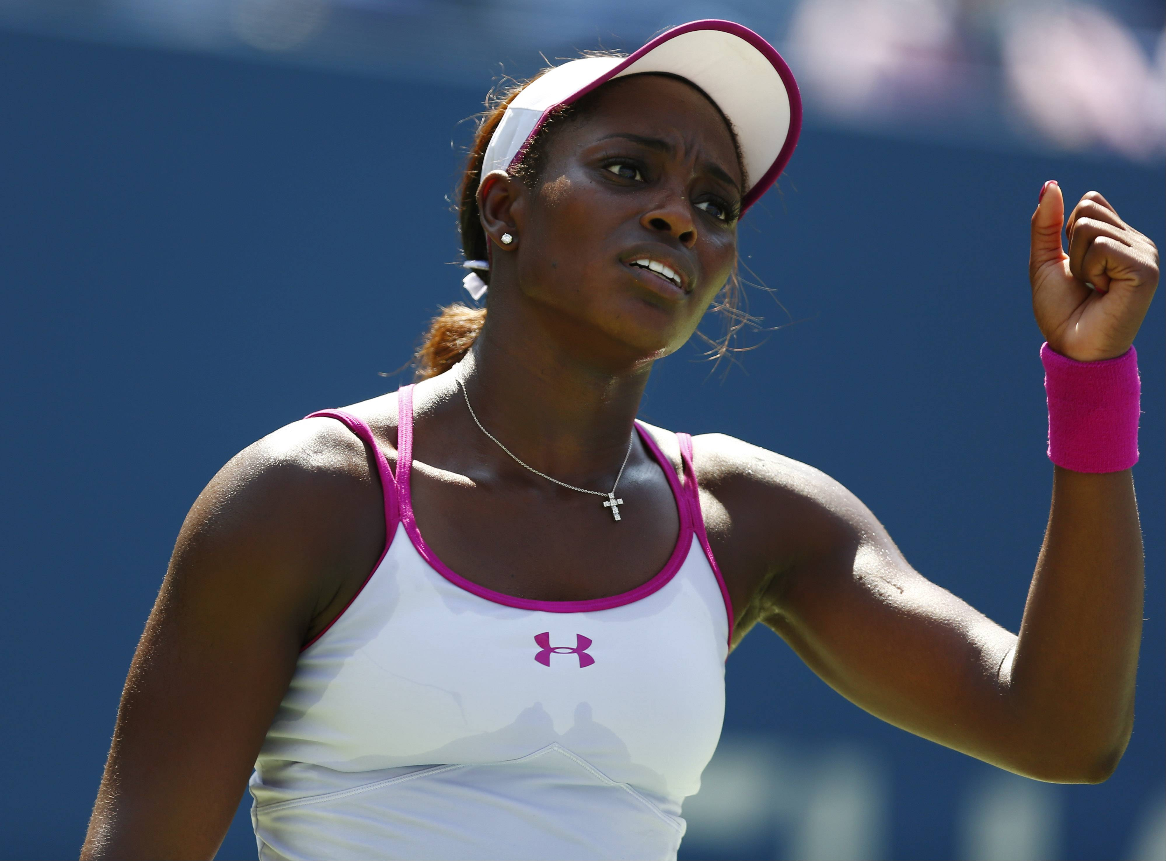Sloane Stephens, of the United States, reacts after a point against Johanna Larsson, of Sweden, during the second round of the 2014 U.S. Open tennis tournament, Wednesday, Aug. 27, 2014, in New York. (AP Photo/Matt Rourke)