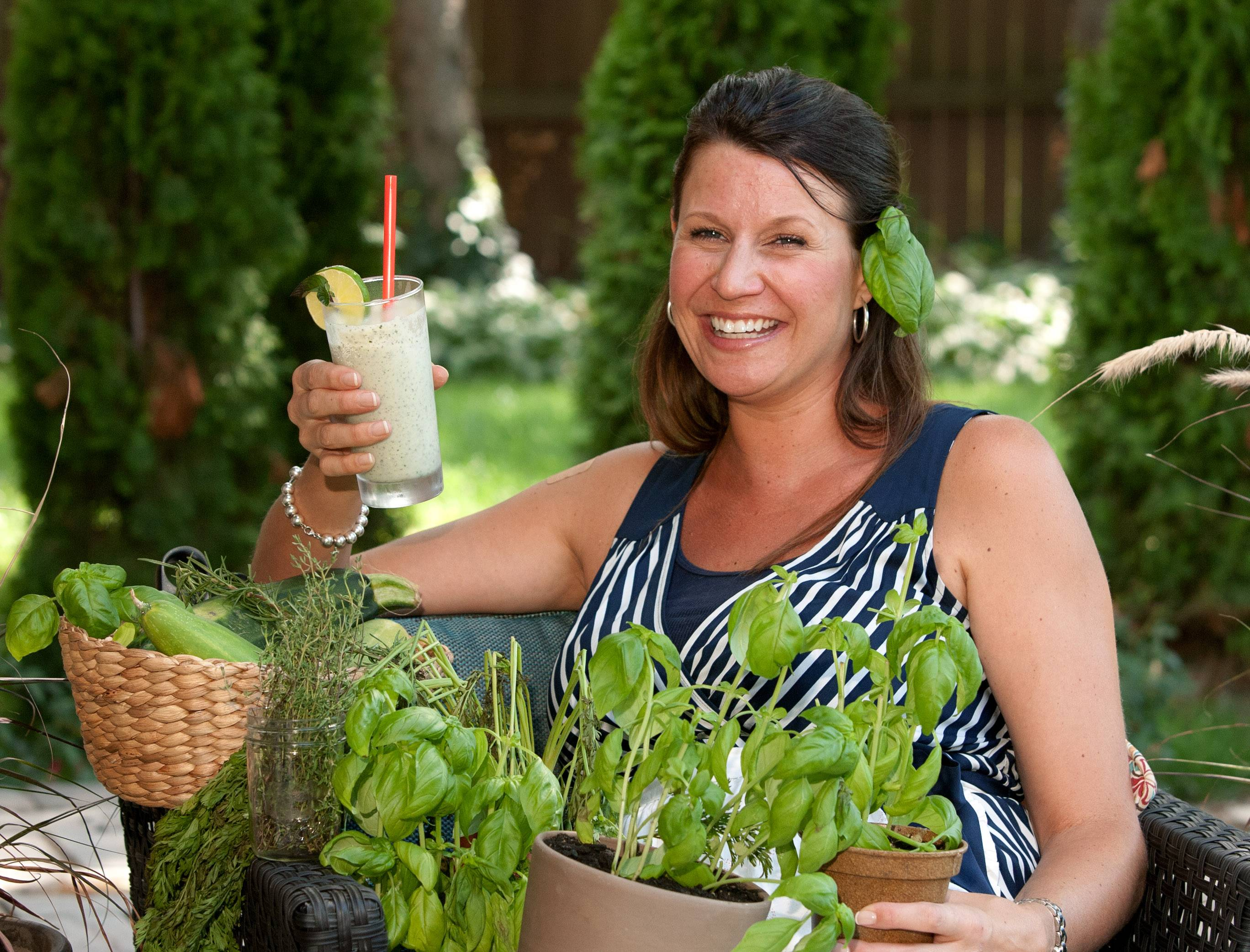 Collette Amabile of Bloomingdale grows basil and other herbs in her garden so she has some on hand for sauces, dressings and cocktails.