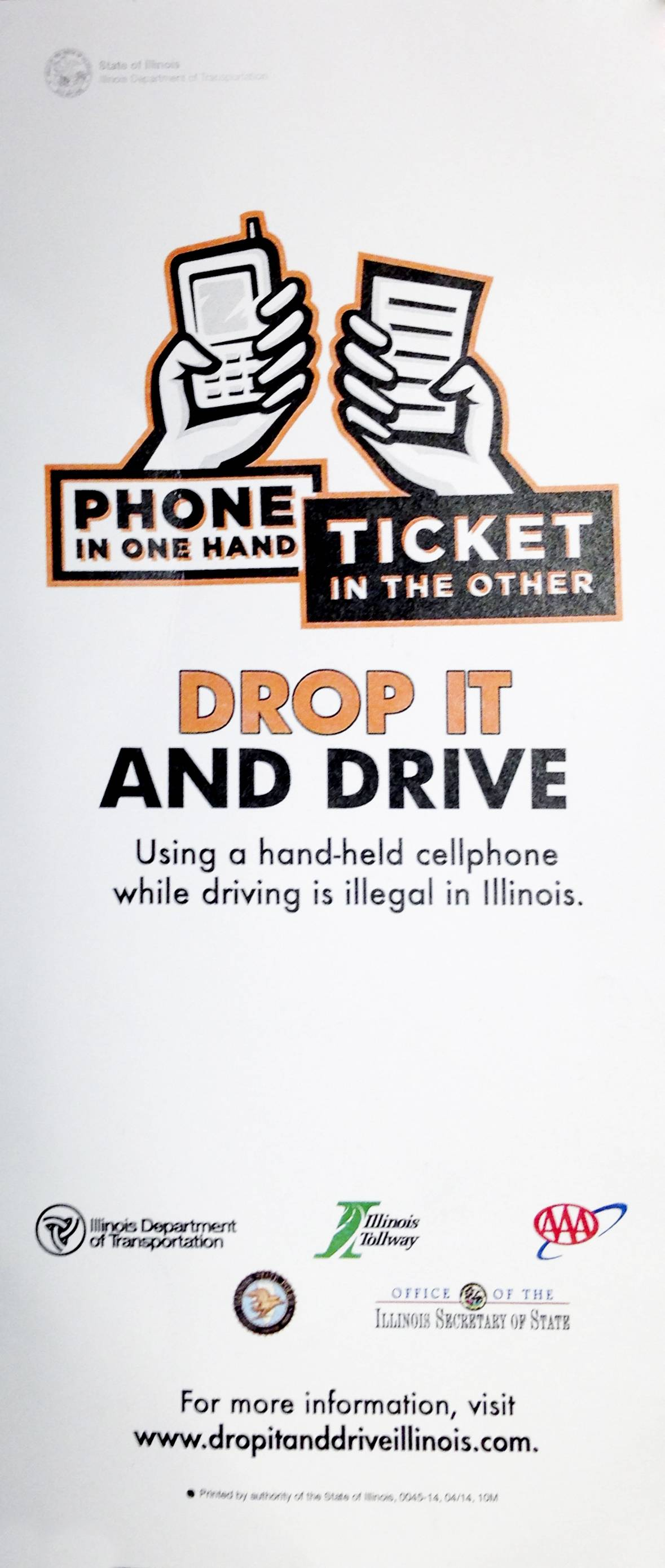A card handed out by the Lombard Police Department gives drivers information about the Drop It and Drive campaign.