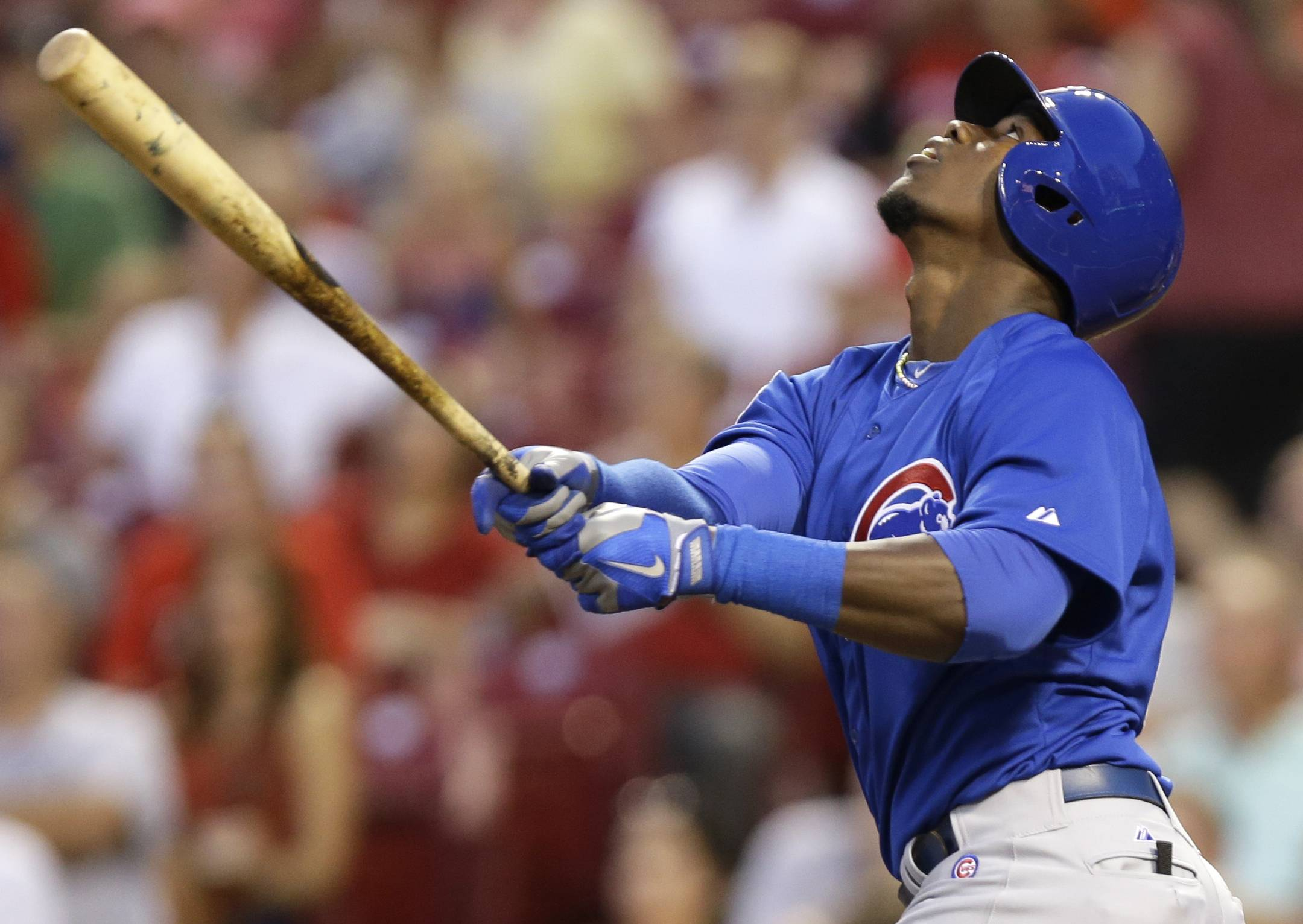 Chicago Cubs' Jorge Soler hits a pop fly for an out in the fourth inning of a baseball game against the Cincinnati Reds, Wednesday, Aug. 27, 2014, in Cincinnati. Soler was making his major league debut.