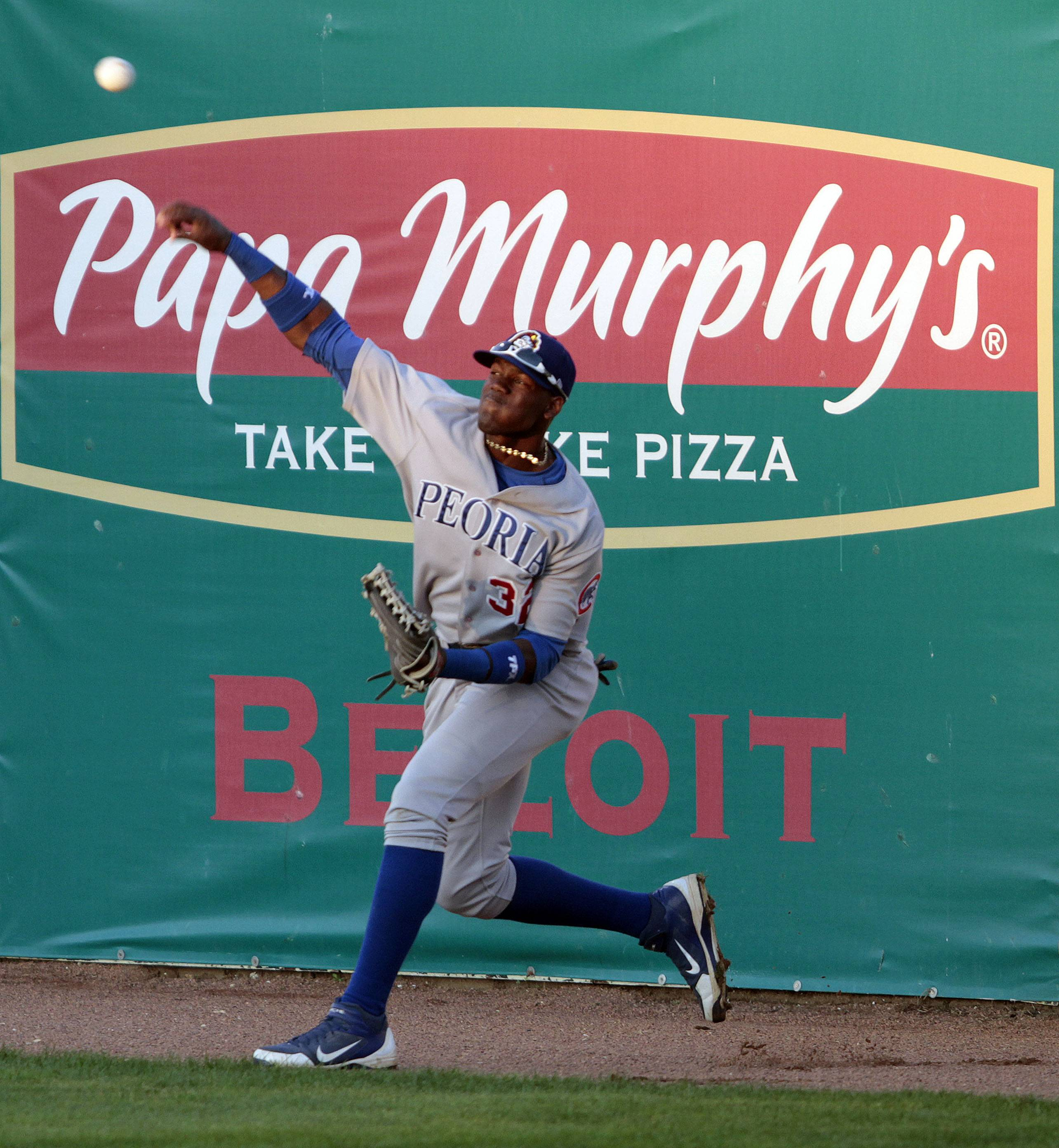 Steve Lundy/slundy@dailyherald.com ¬ Cubs prospect Jorge Soler connects fires the ball to second as the Class A Peoria Chiefs took on the Beliot Snappers Monday night in Beliot, Wisconsin. Soler signed a 9-year, $30 million contract this summer.
