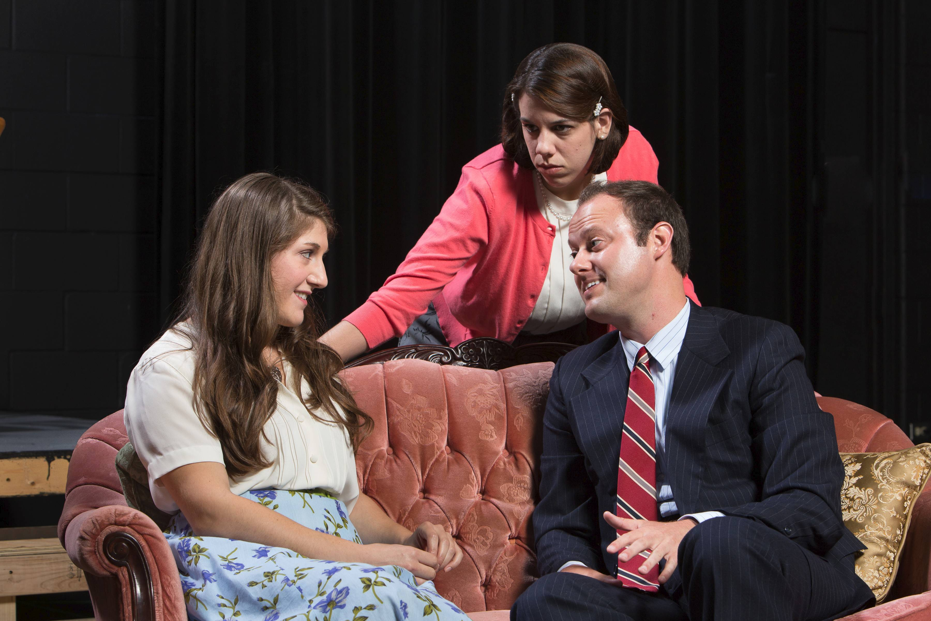 "Rebeccah Singer as Sunny Freitag, Audrey Wilson as Lala Levy and Jeremy Fack as Joe Frakas rehearse in the Harper College production of ""The Last Night Of Ballyhoo."""