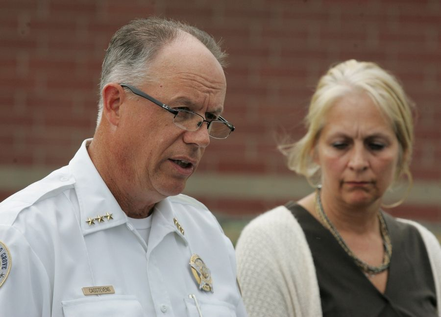 Buffalo Grove Police Chief Steven Casstevens and Aptakisic-Tripp Elementary District 102 Superintendent Theresa Dunkin discuss the arrest of teacher John C. Vastis, 51, on child pornography charges. Officials said there is no evidence Vastis victimized anyone at the school.