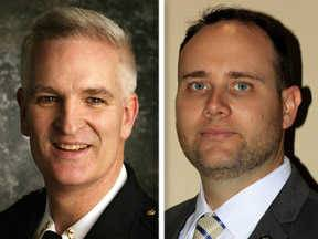Mark Curran, left, and Jason Patt, right, are candidates for Lake County Sheriff in the 2014 general election.