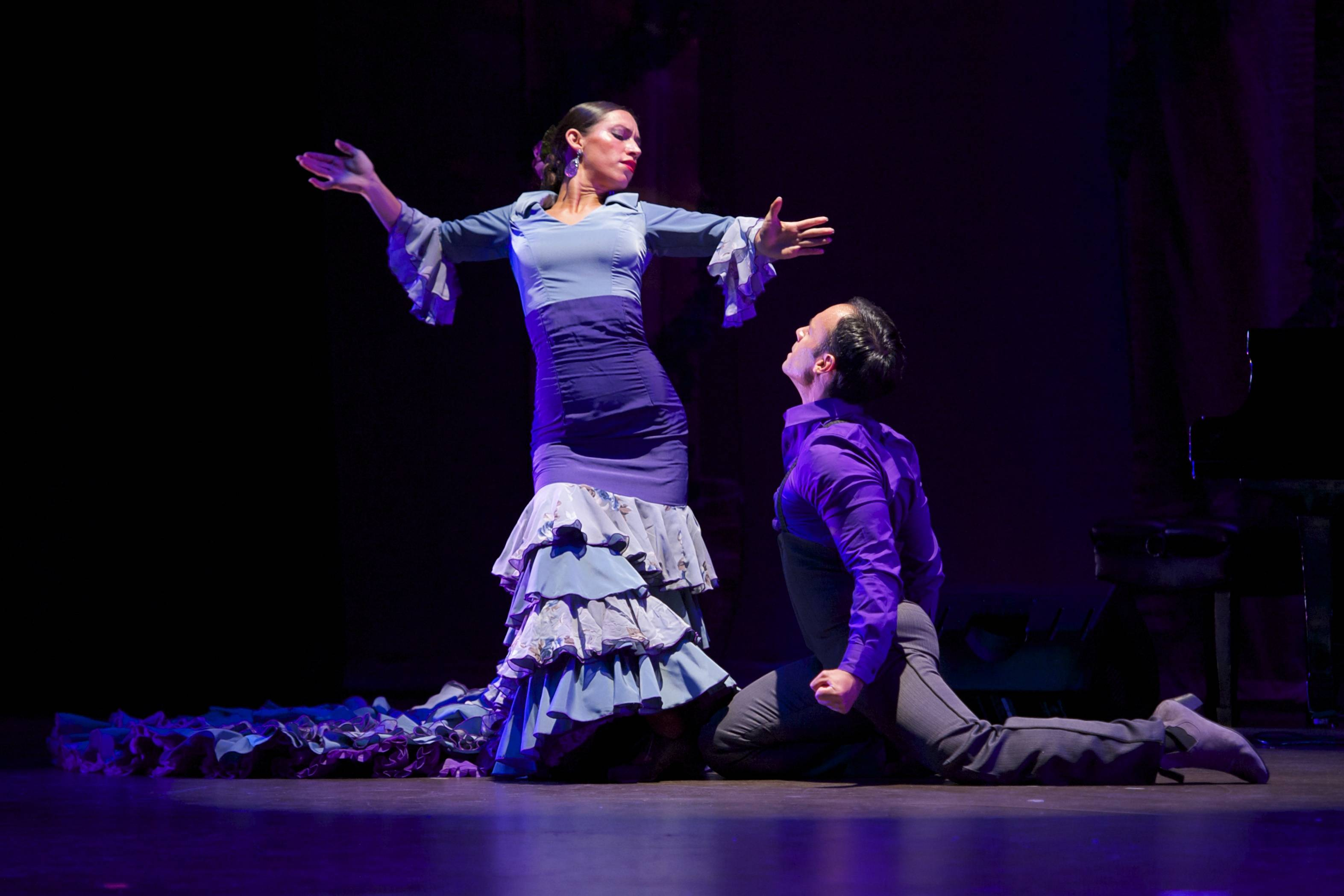 Claudia Pizarro and Jose Torres, Principal Dancers, Ensemble Espanol Spanish Dance Theater in residence at Northeastern Illinois University.  Photo by Dean Paul